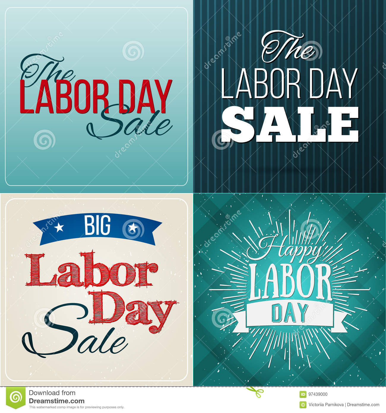 Set Of Vector Illustrations Labor Day A National Holiday Of The