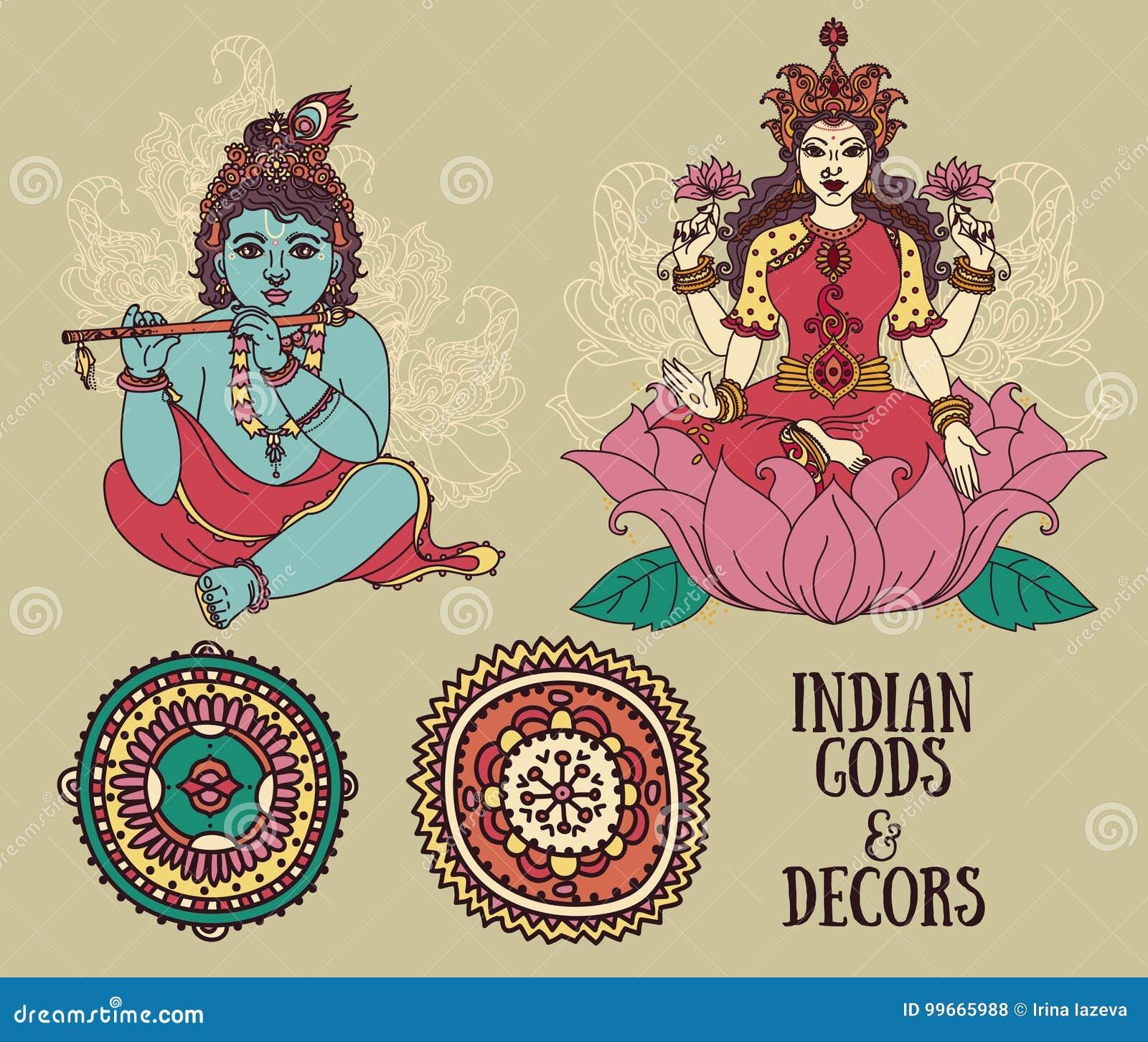 little krishna lakshmi and ethnic ornaments stock vector