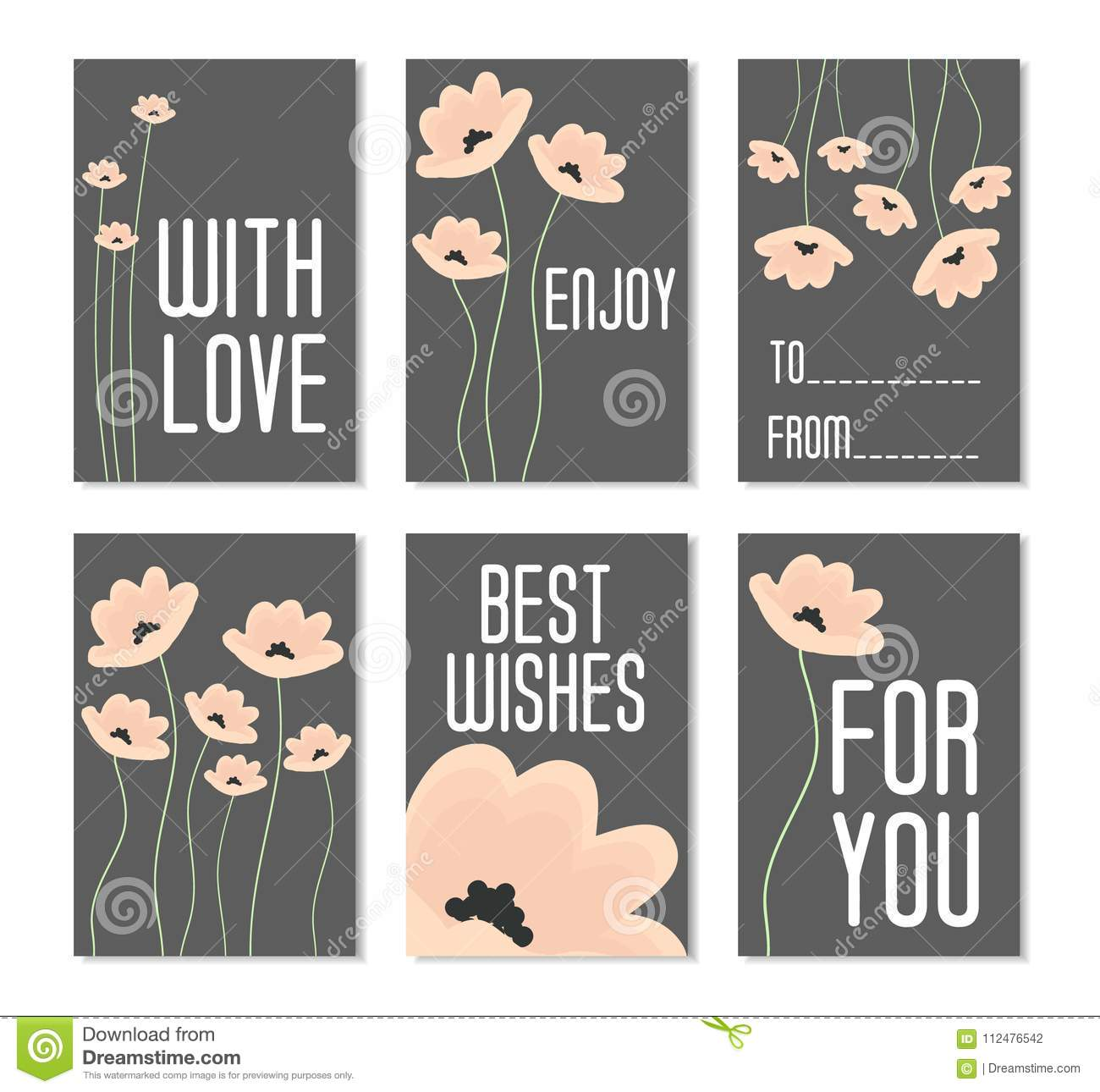 Set of Vector Illustrations. Perfect for birthday cards, posters, banners, stickers, labels with flowers on dark background. Set o