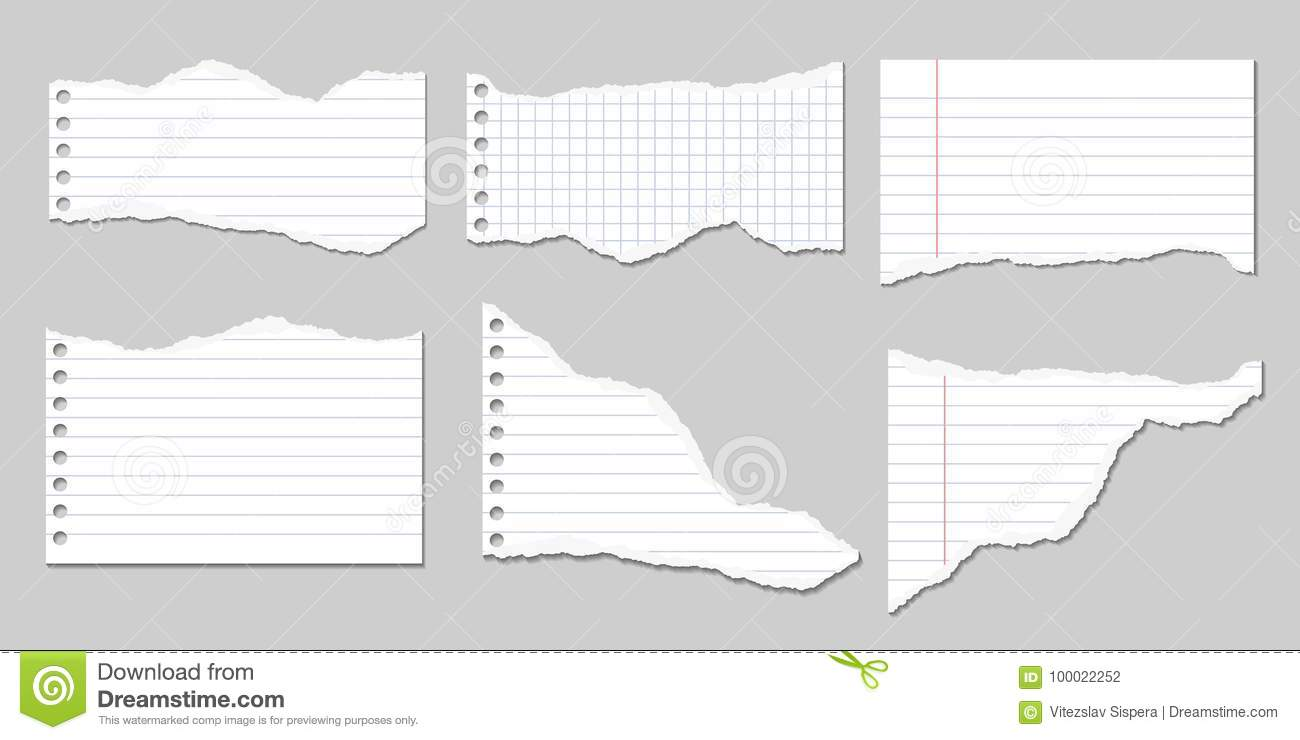 Set Of Vector Illustrations Of Torn Pages Of Notebook Paper Line ...