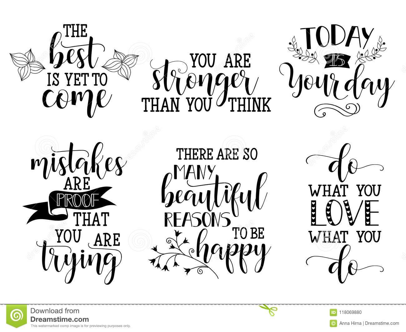 Set of vector inspirational and motivational lettering for greeting set of vector inspirational and motivational lettering for greeting cards decoration prints and posters m4hsunfo