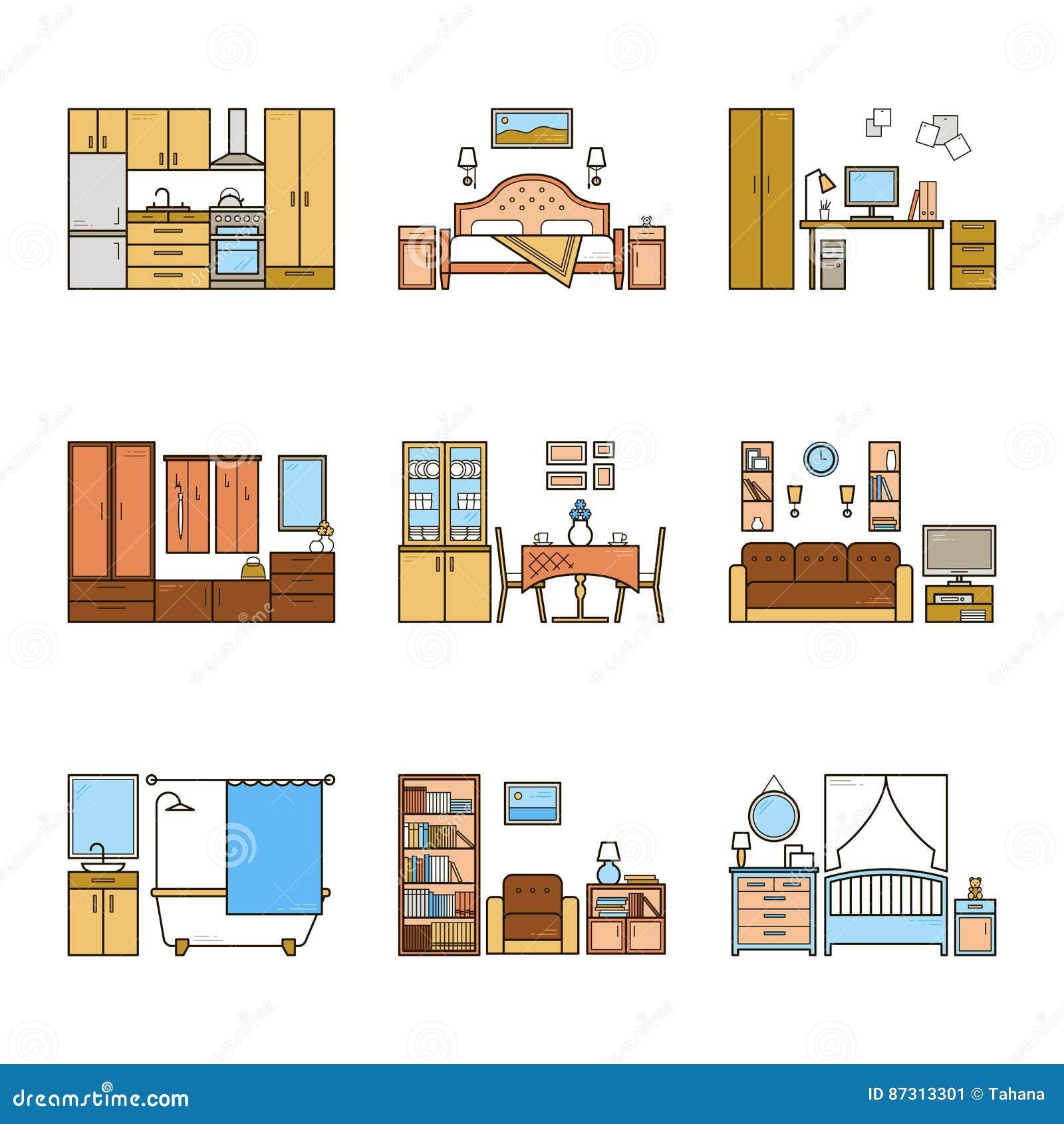 Interior Design Living Room Vector Illustration Vector