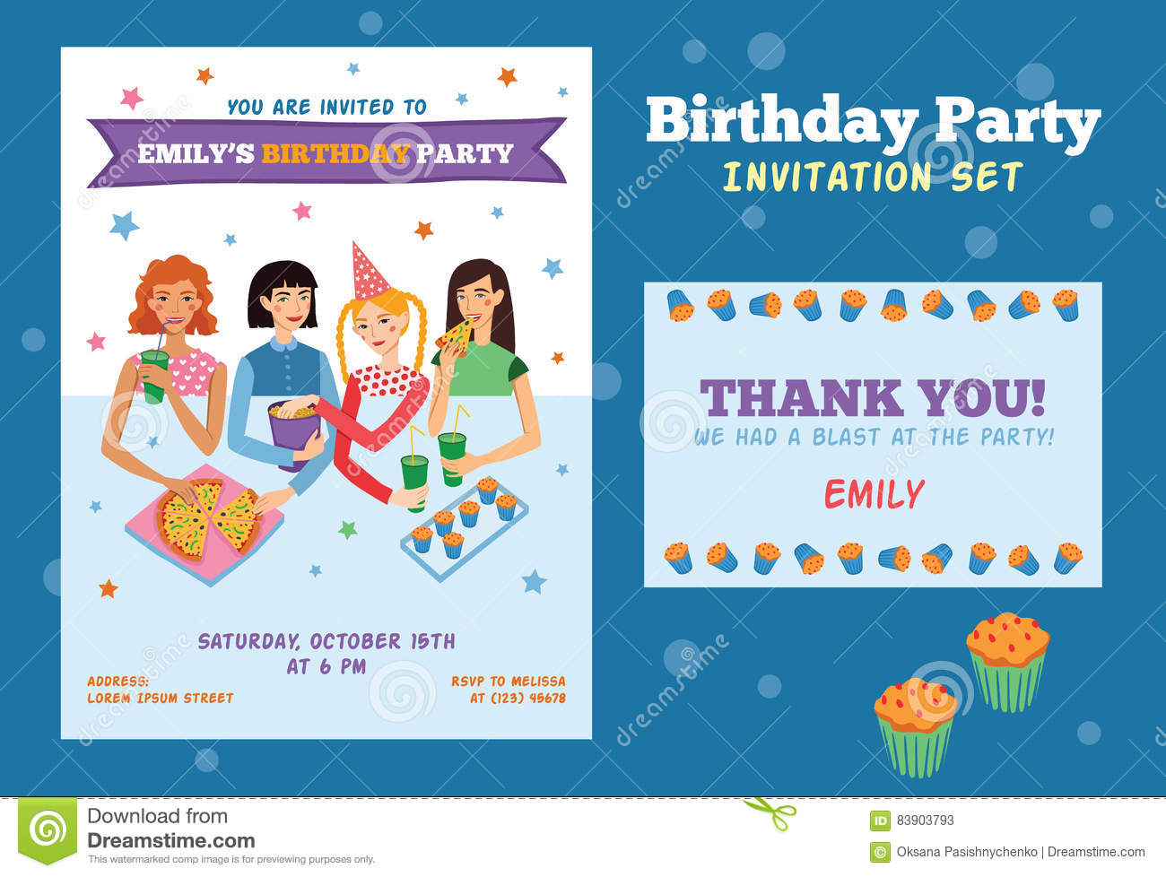 Set Of Vector Invitation Flyer And Thank You Card For
