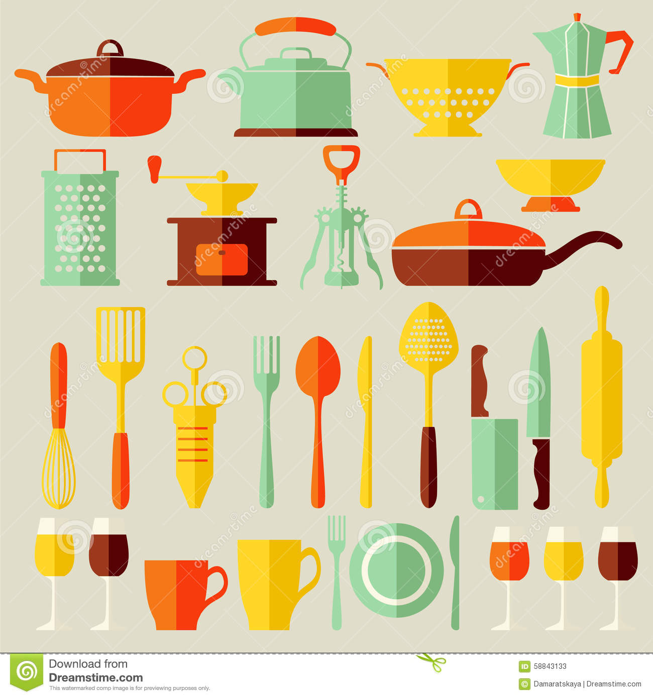 Set vector kitchen icons flat style stock vector image for Kitchen set vector