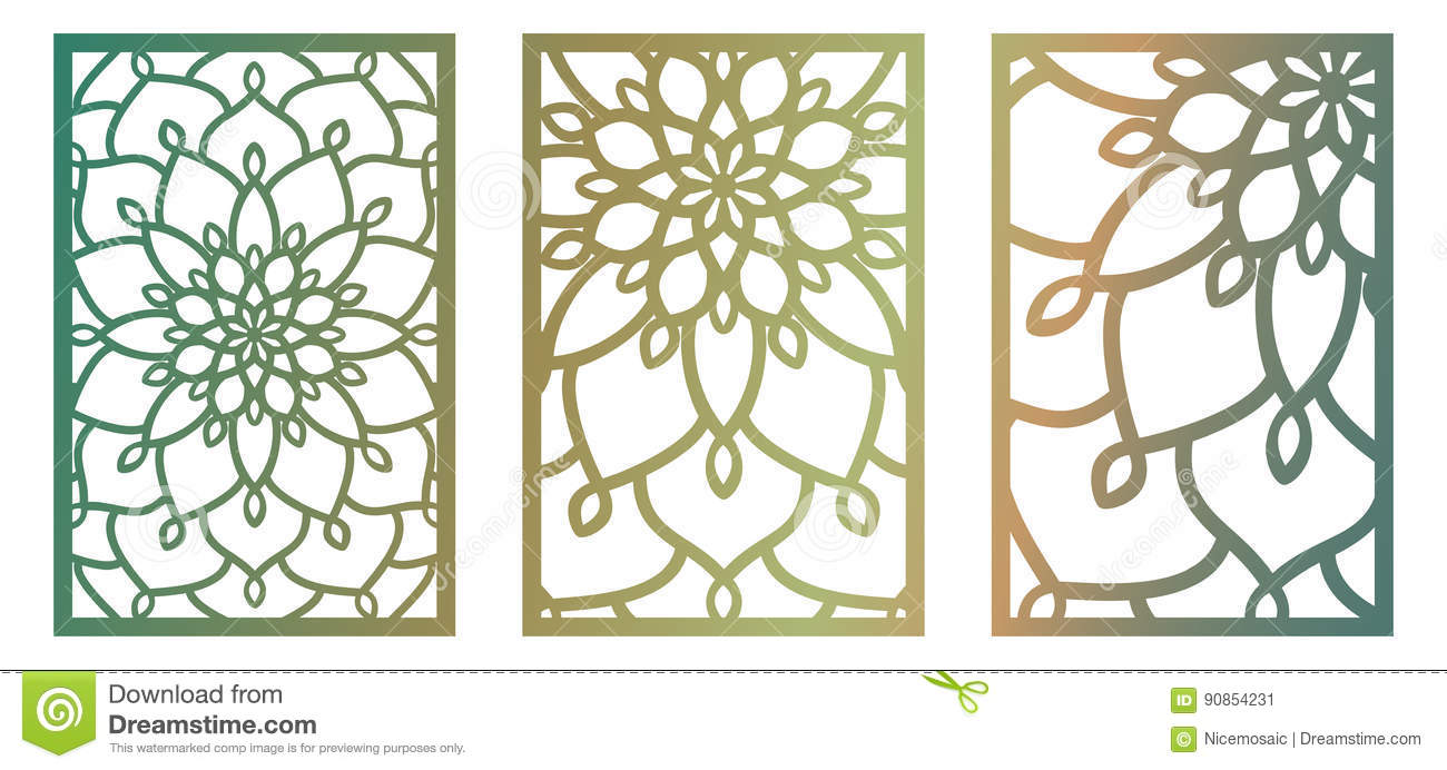 Set of vector laser cut panels abstract pattern template for Wall art templates free