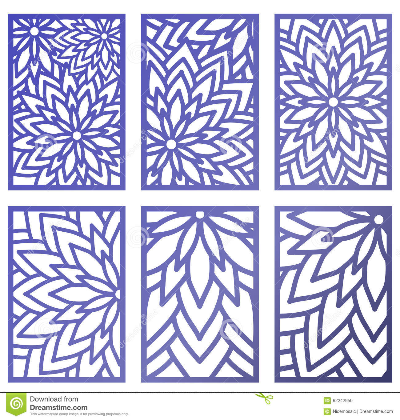 Set Of Vector Laser Cut Panels. Abstract Pattern Template For De ...