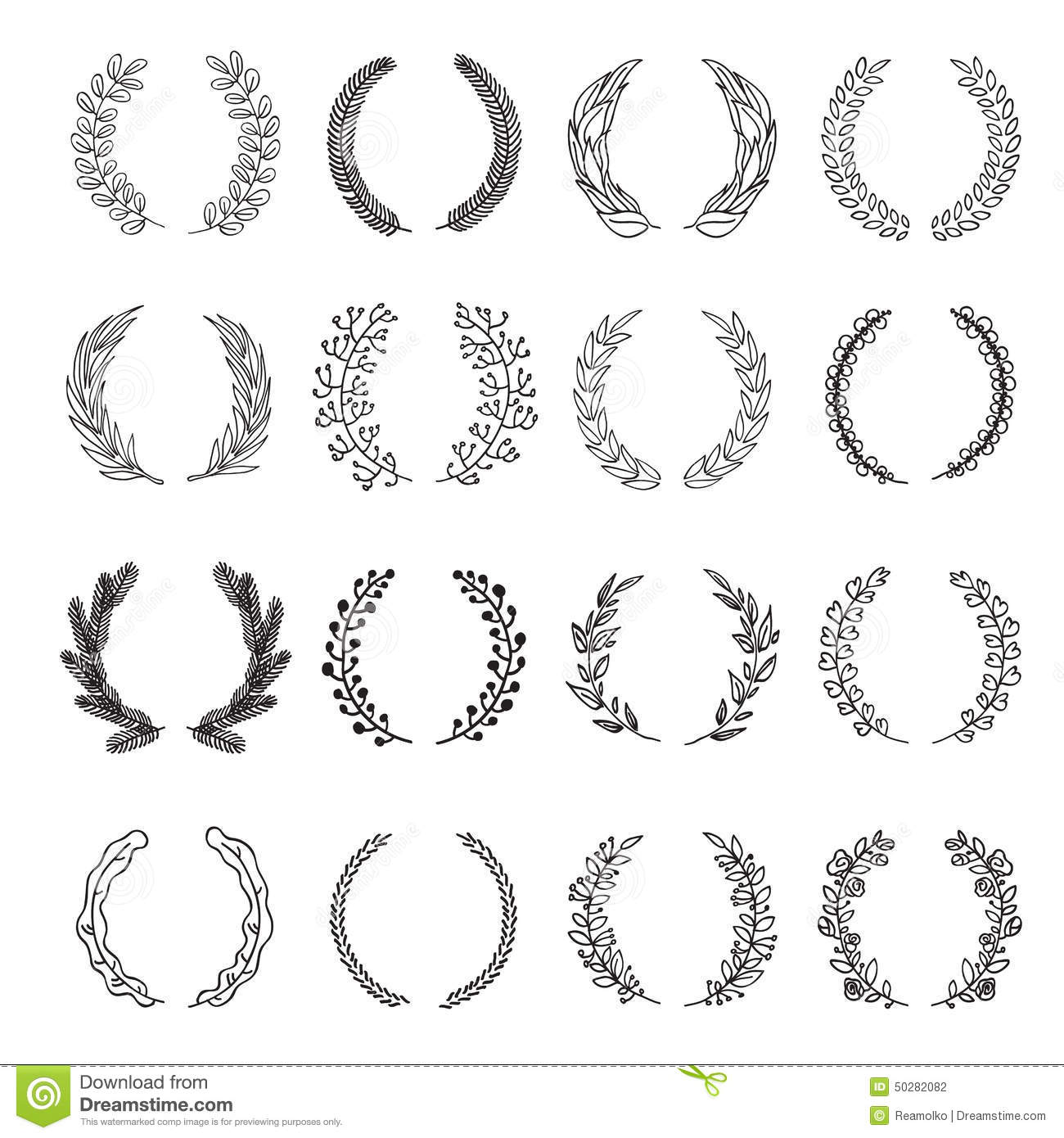 Set Of Vector Laurel Wreaths. Stock Vector - Illustration ...