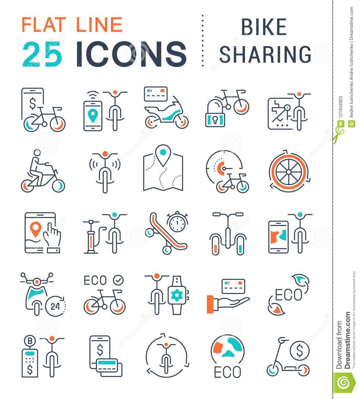 Set Vector Line Icons of Bike Sharing.