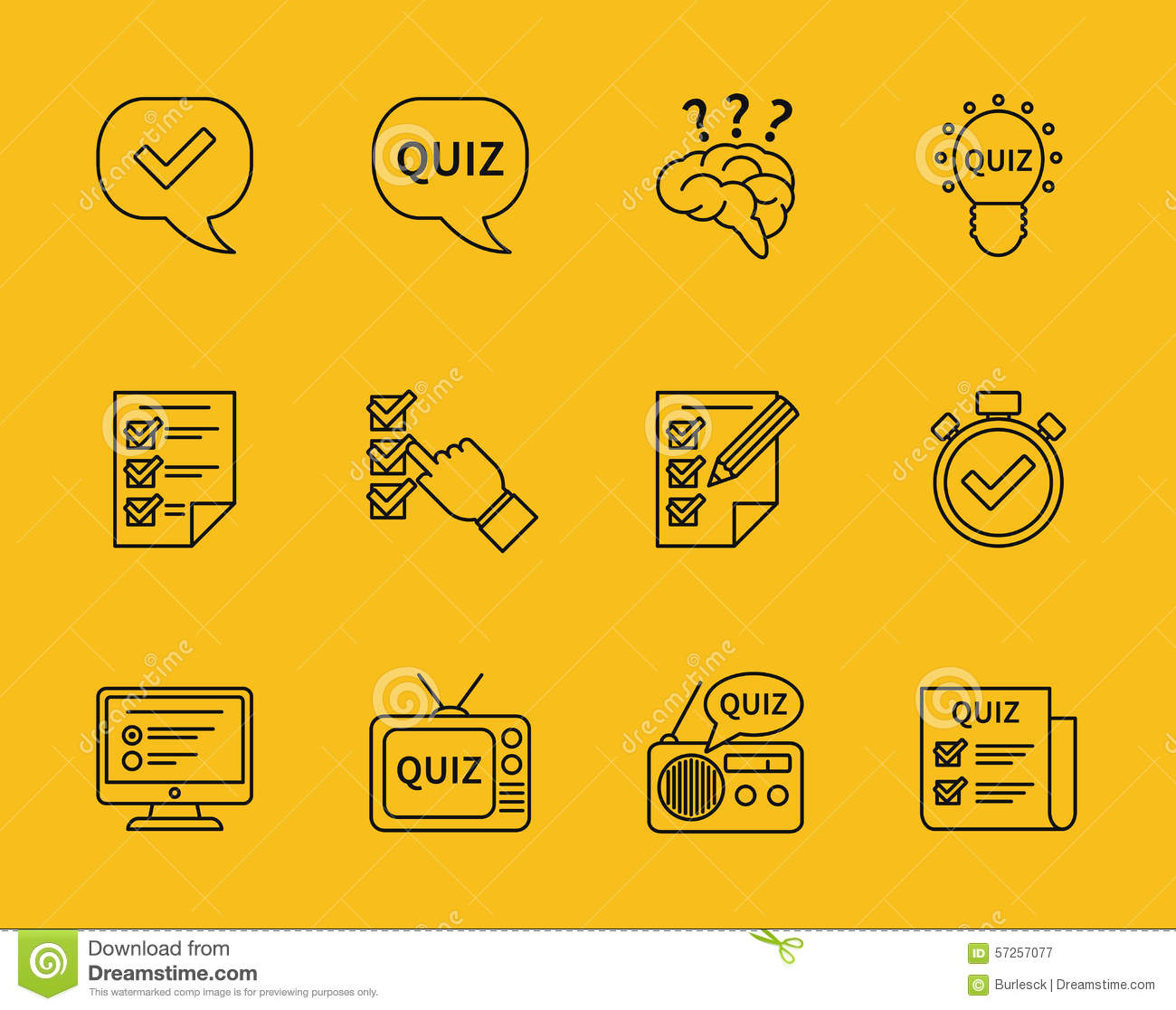 Vector Drawing Lines Questions : Set of vector line quiz icons stock image