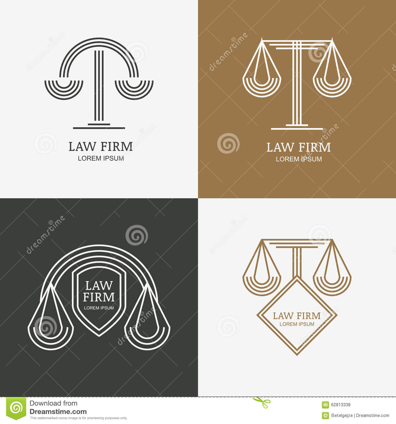 Set of vector line style vintage law firm logo design for Fish law firm