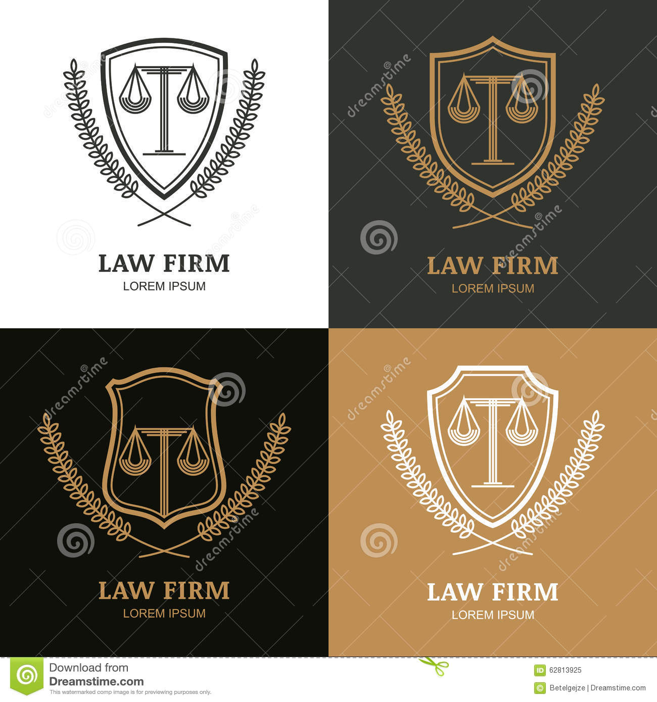 Set of vector linear vintage law firm logo template stock vector set of vector linear vintage law firm logo template fbccfo Images