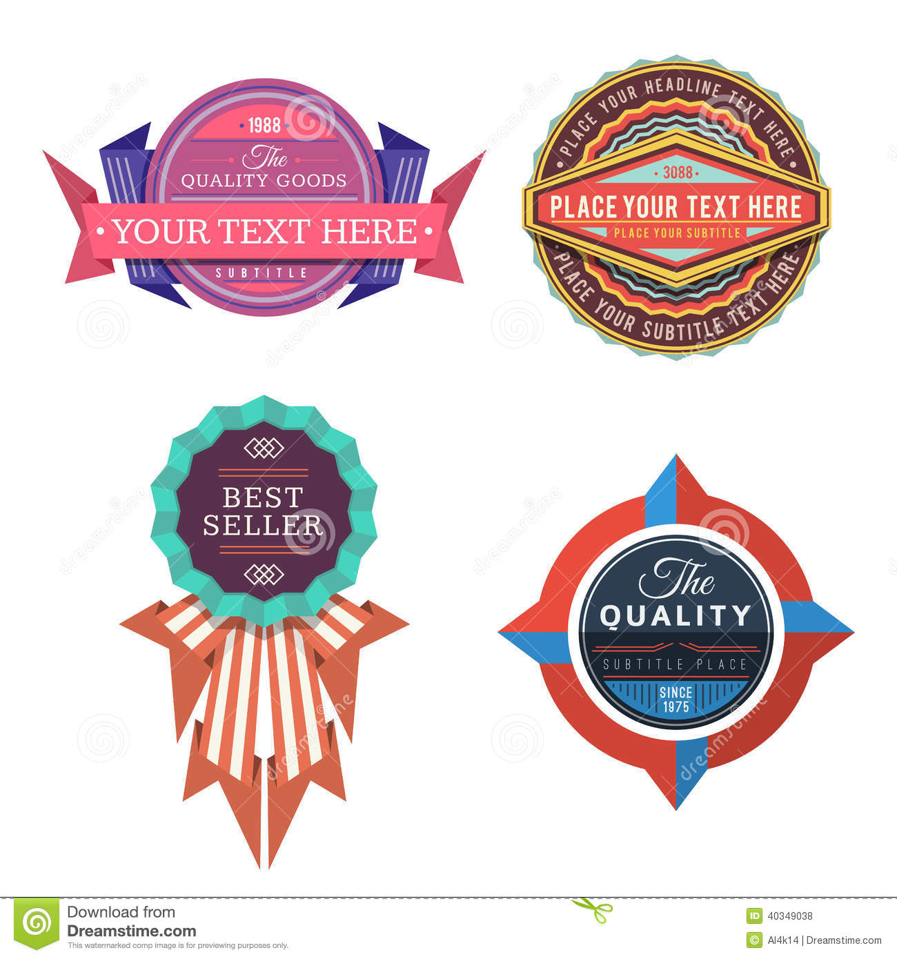 Set Of Vector Logo Retro Labels And Vintage Style Banners