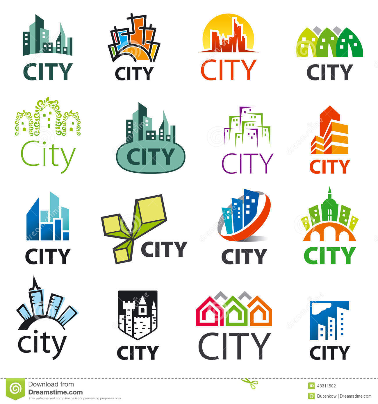 Set Of Vector Logos Cities Stock Vector Image Of Element