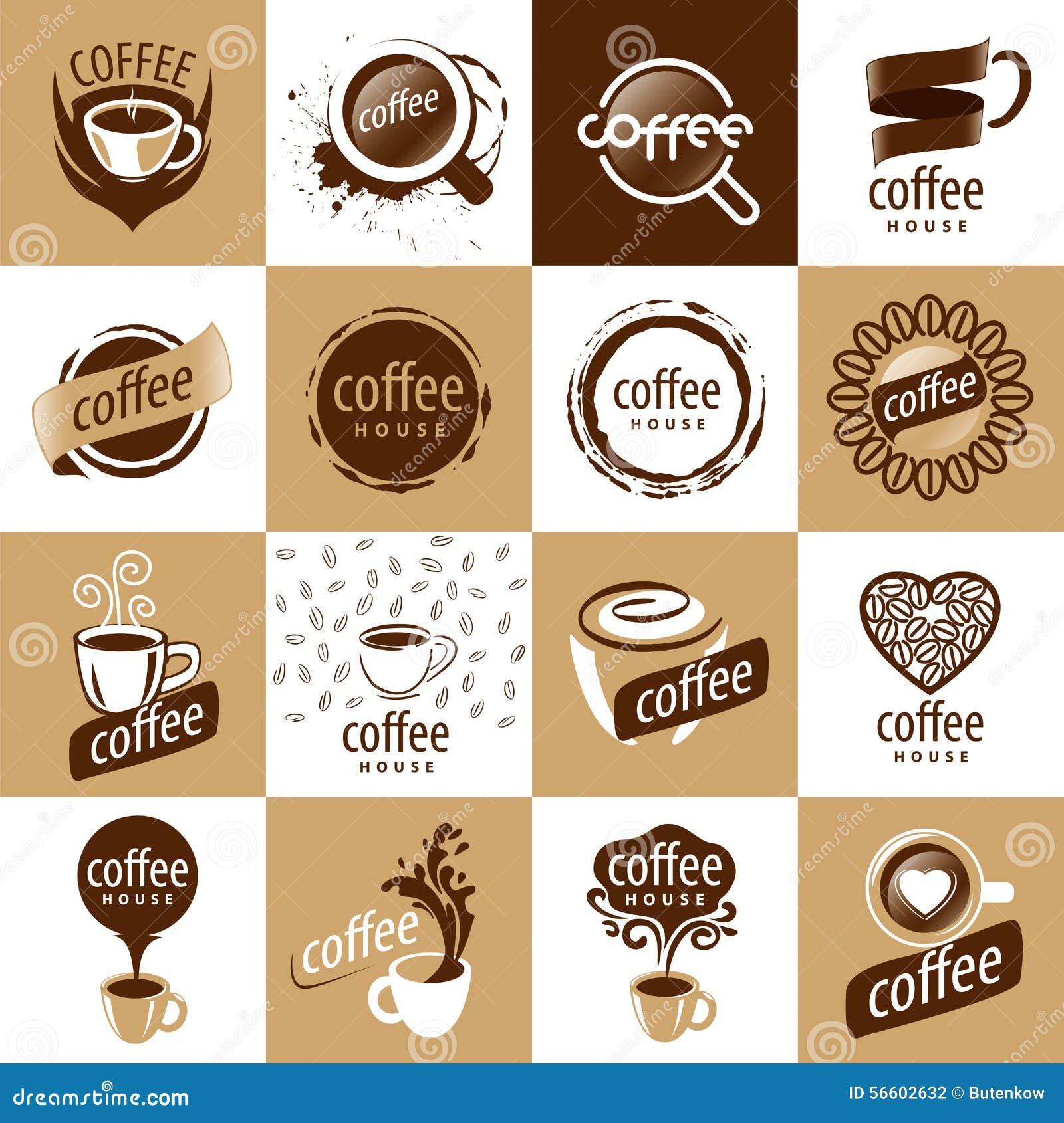 Set of vector logos coffee stock vector. Image of food