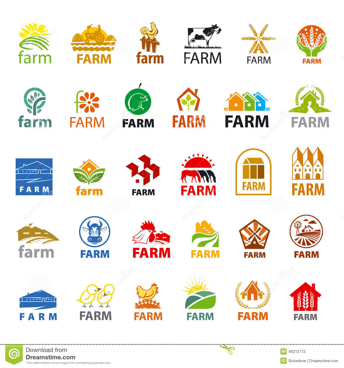 set of vector logos farm stock vector illustration of banner 46212772