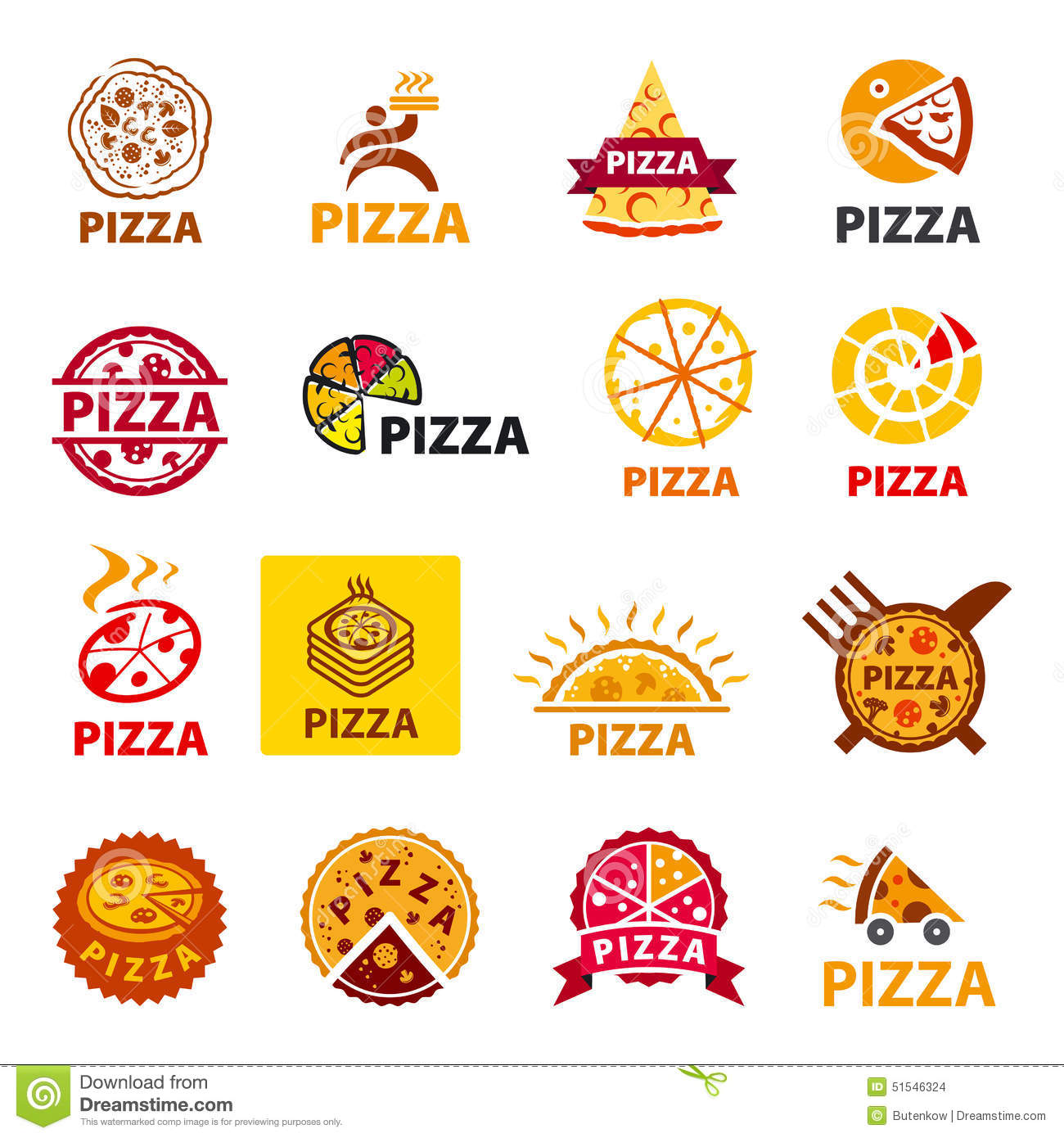 set of vector logos pizza stock vector image 51546324. Black Bedroom Furniture Sets. Home Design Ideas