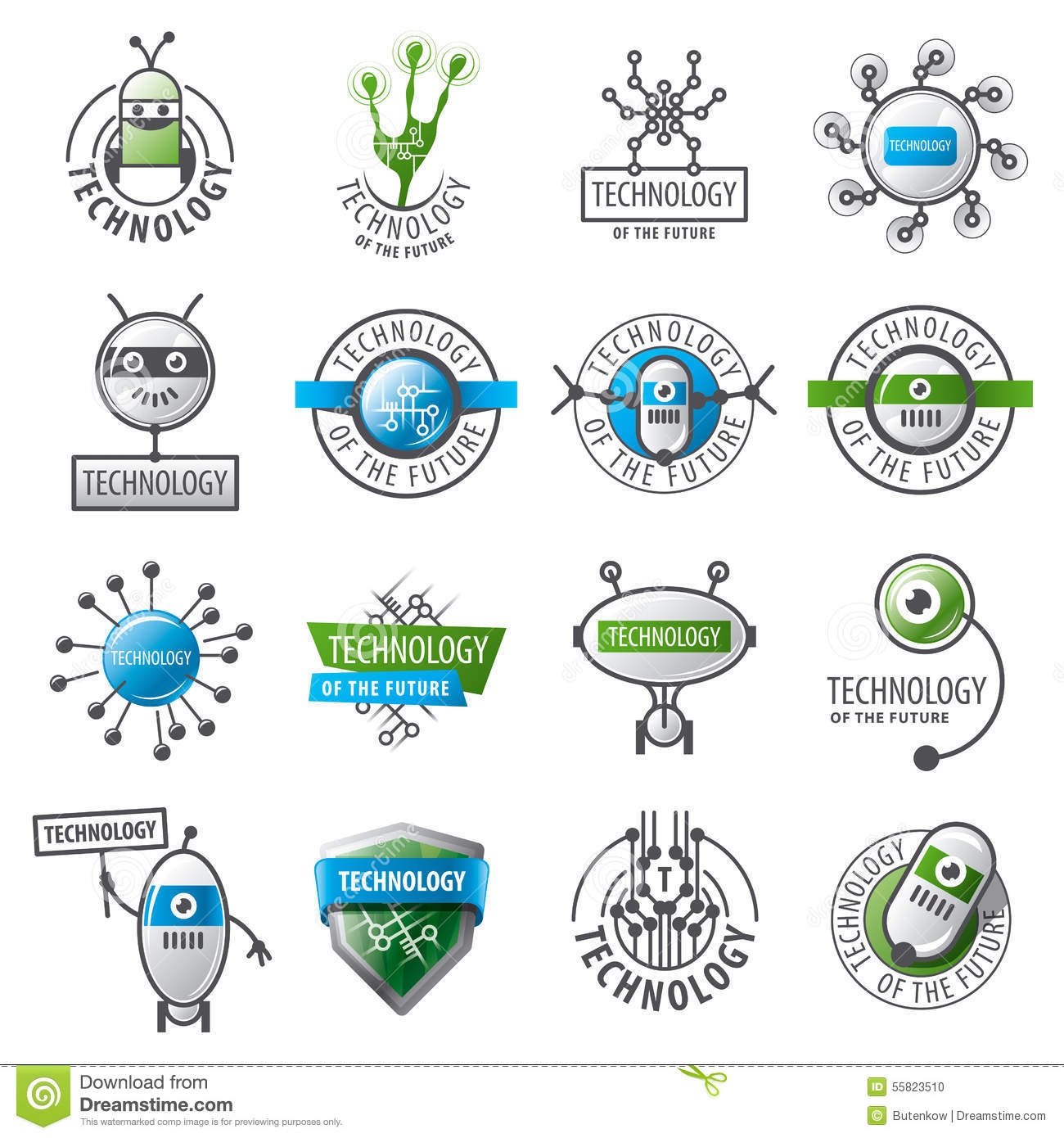Set of vector logos robots and new technologies