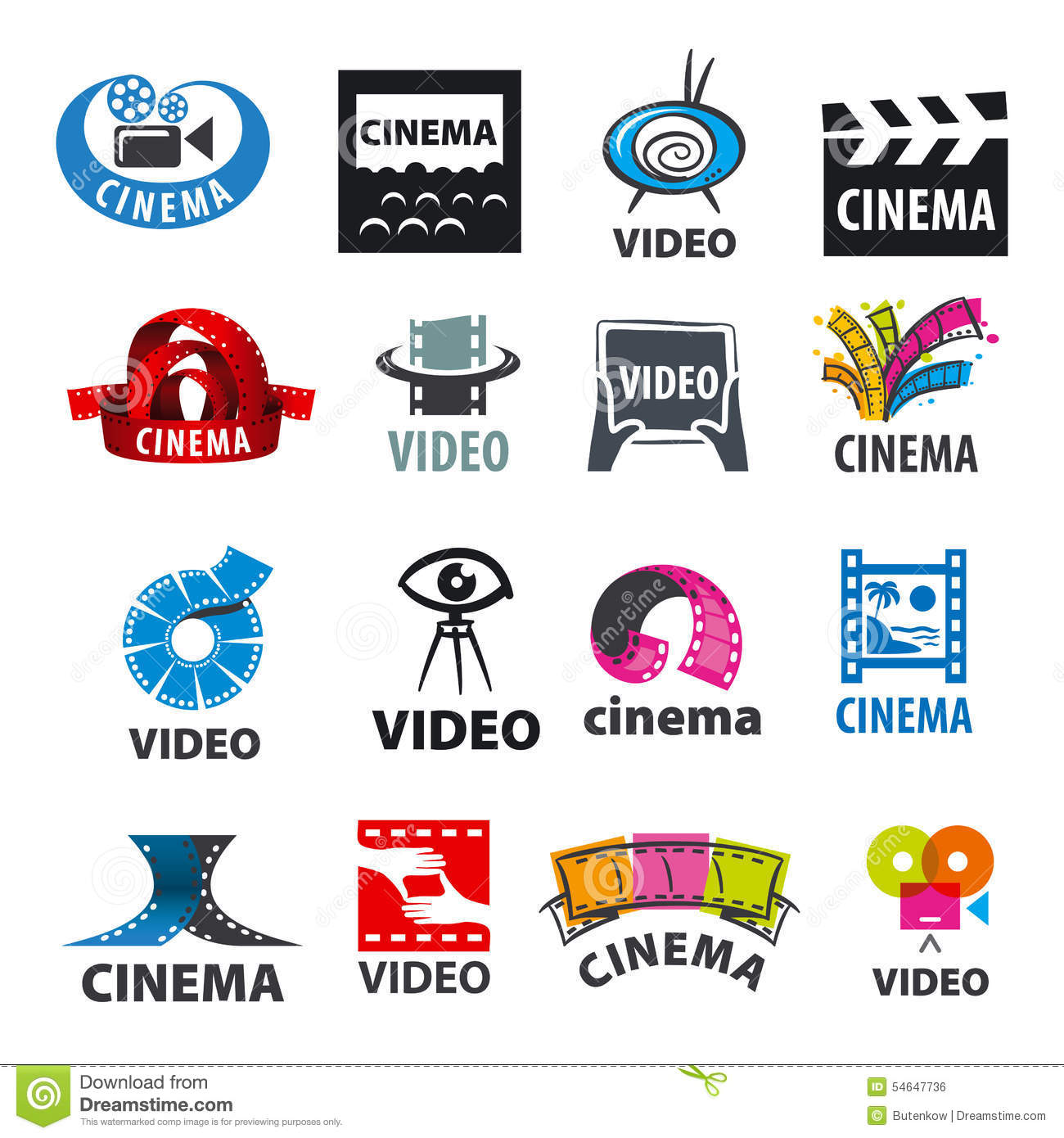 set of vector logos for video production stock vector