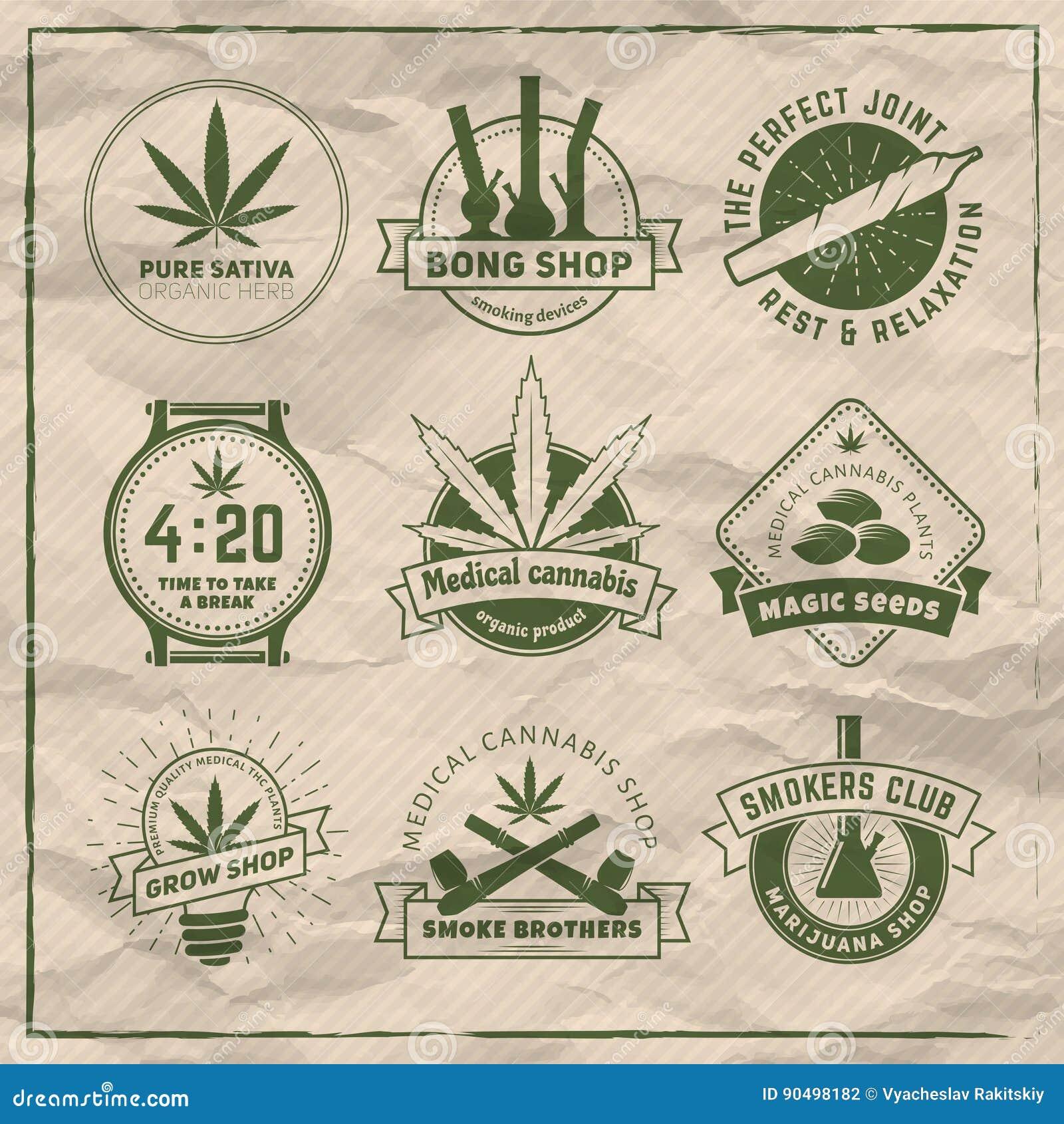 Set of vector marijuana smoking badges.