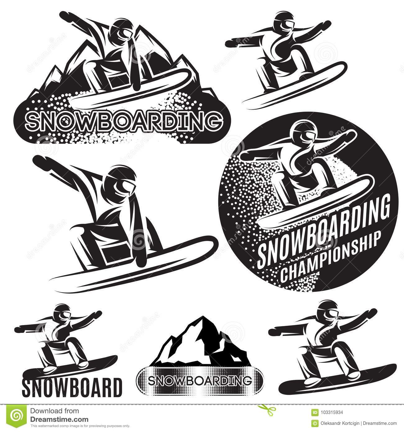 set of vector monochrome sports templates with various snowboarders