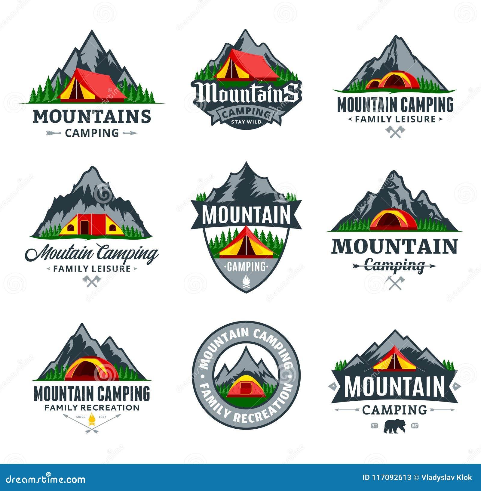 Set Of Vector Mountain Camping Logo Stock Vector ...