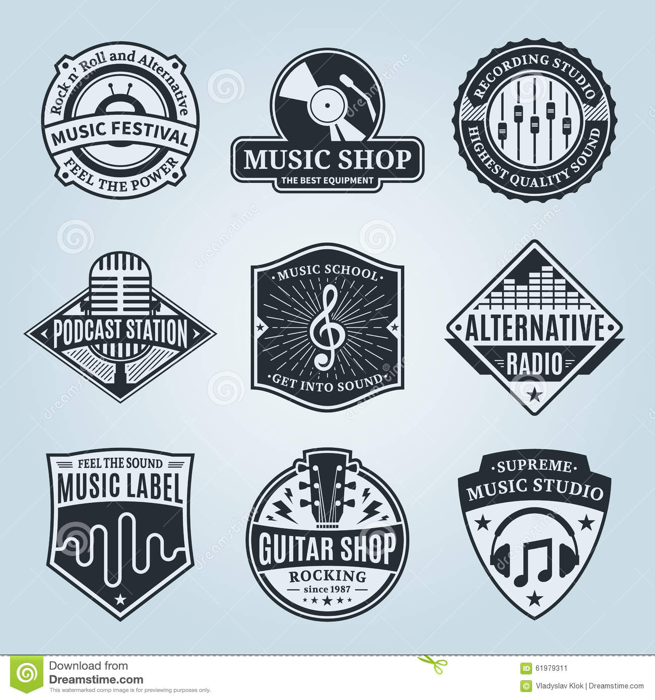 set of vector music logo icons and design elements stock vector image 61979311. Black Bedroom Furniture Sets. Home Design Ideas