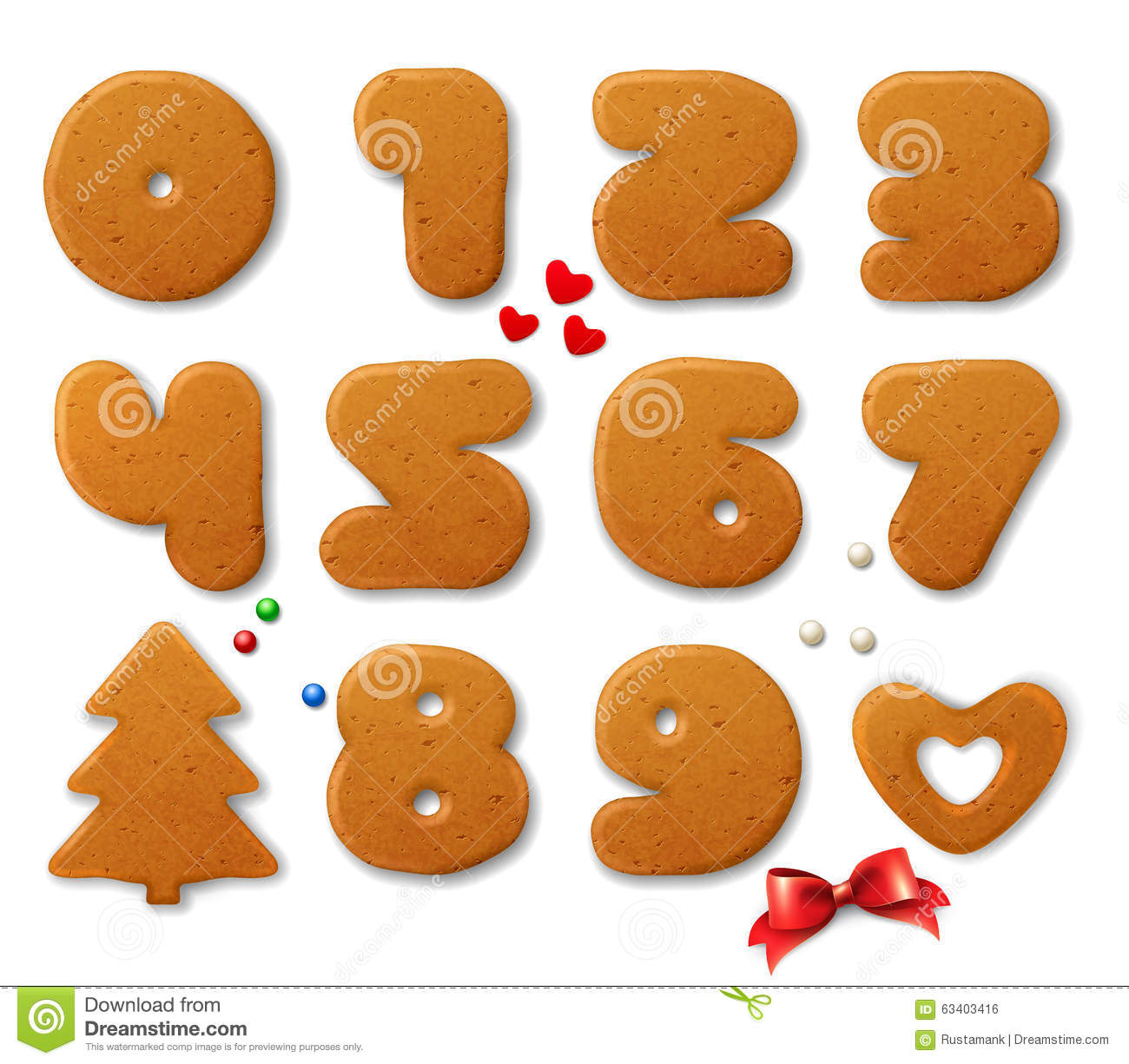 Set of vector numbers in shape of Christmas gingerbreads with design elements