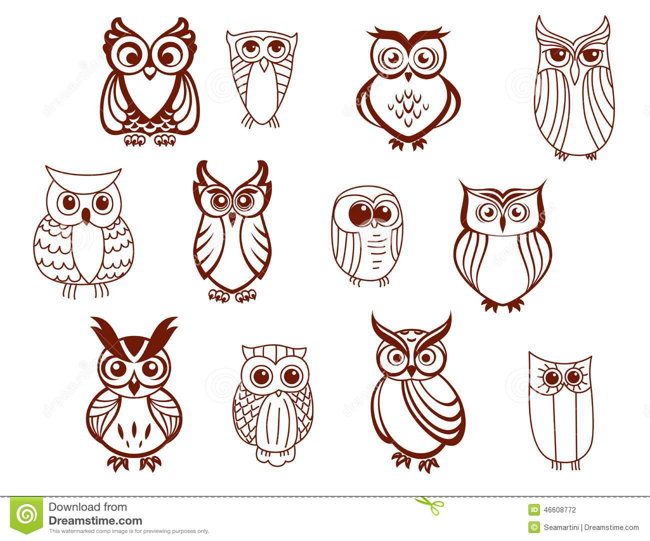 Set Of Vector Owls Stock Vector. Illustration Of