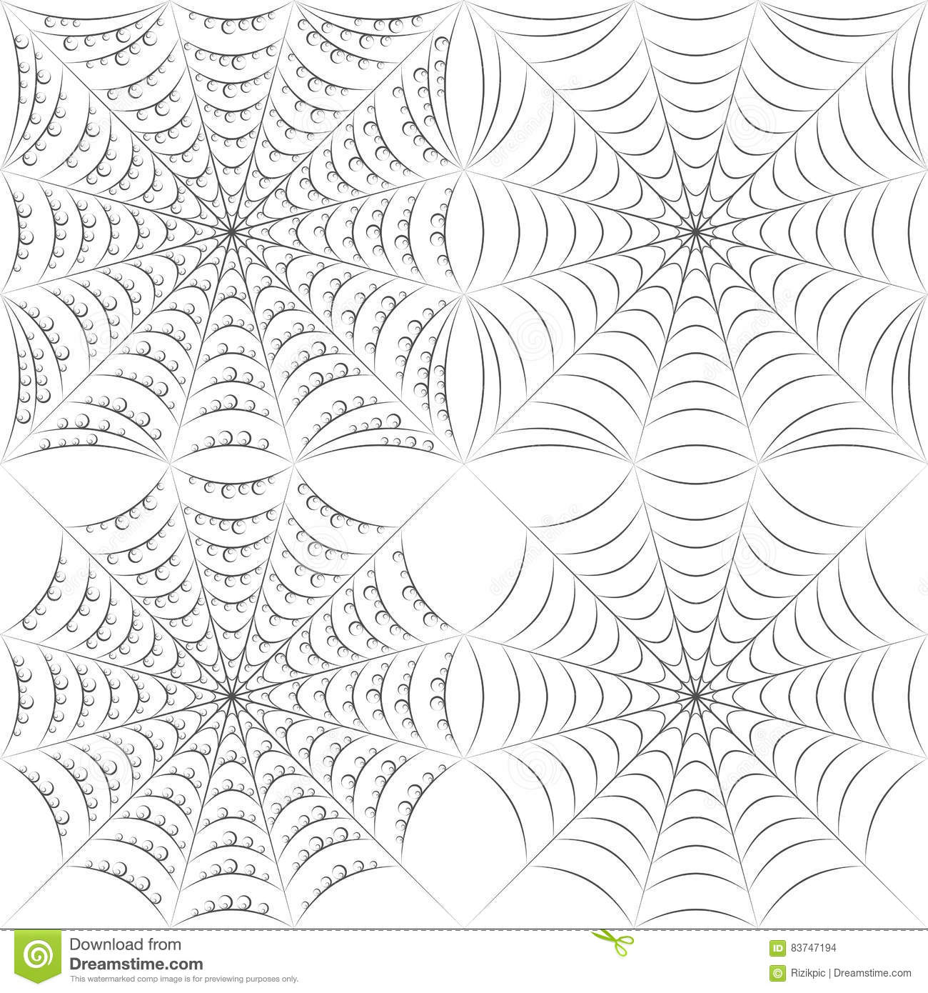 Set of vector patterns with spider web and drops. EPS10