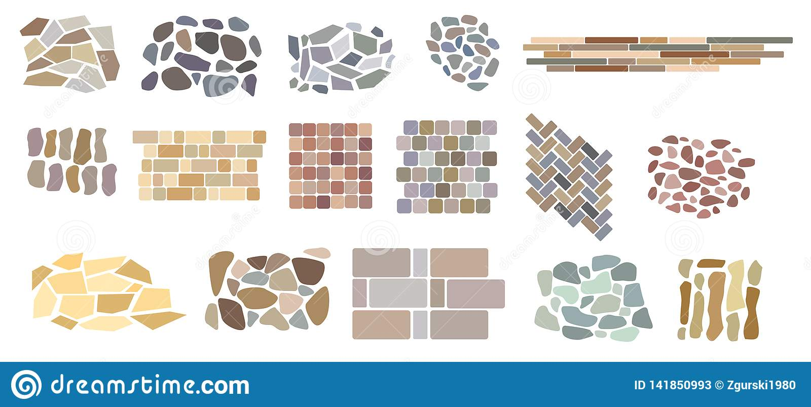 Set Of Vector Paving Tiles And Bricks Patterns From Natural ...