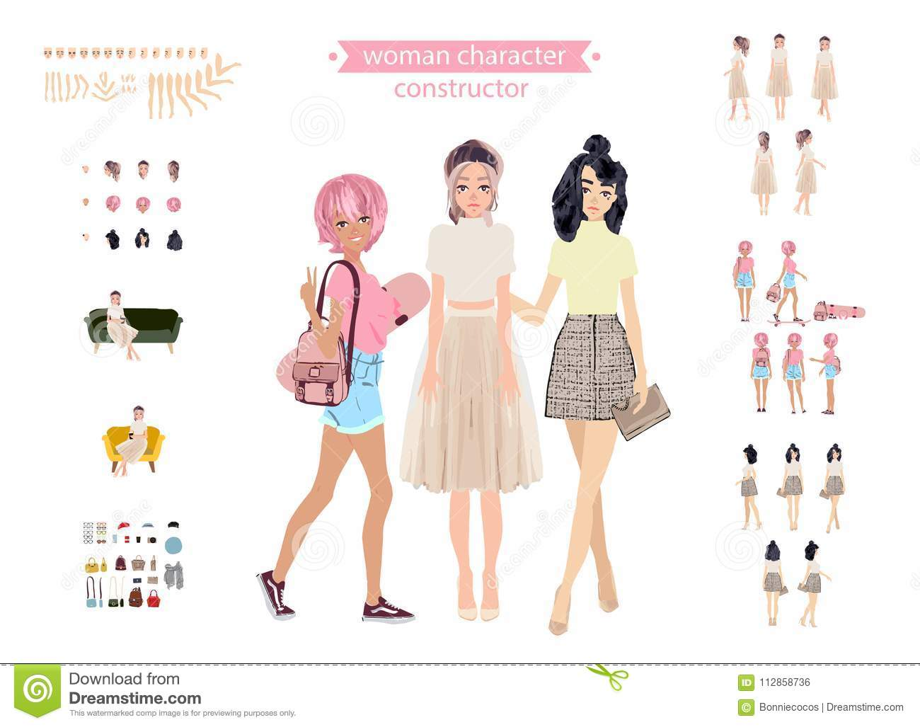 Animate Woman Character  Young Lady Personage Constructor