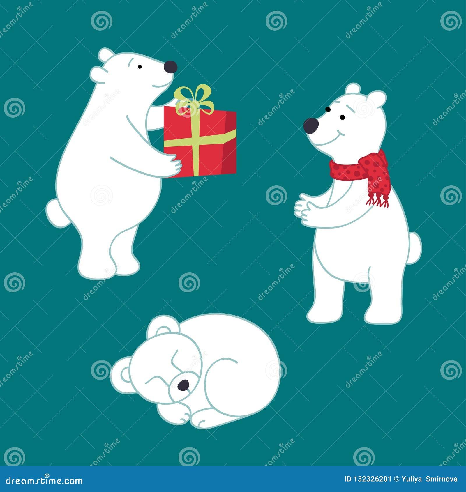 Set of vector polar bears for your design