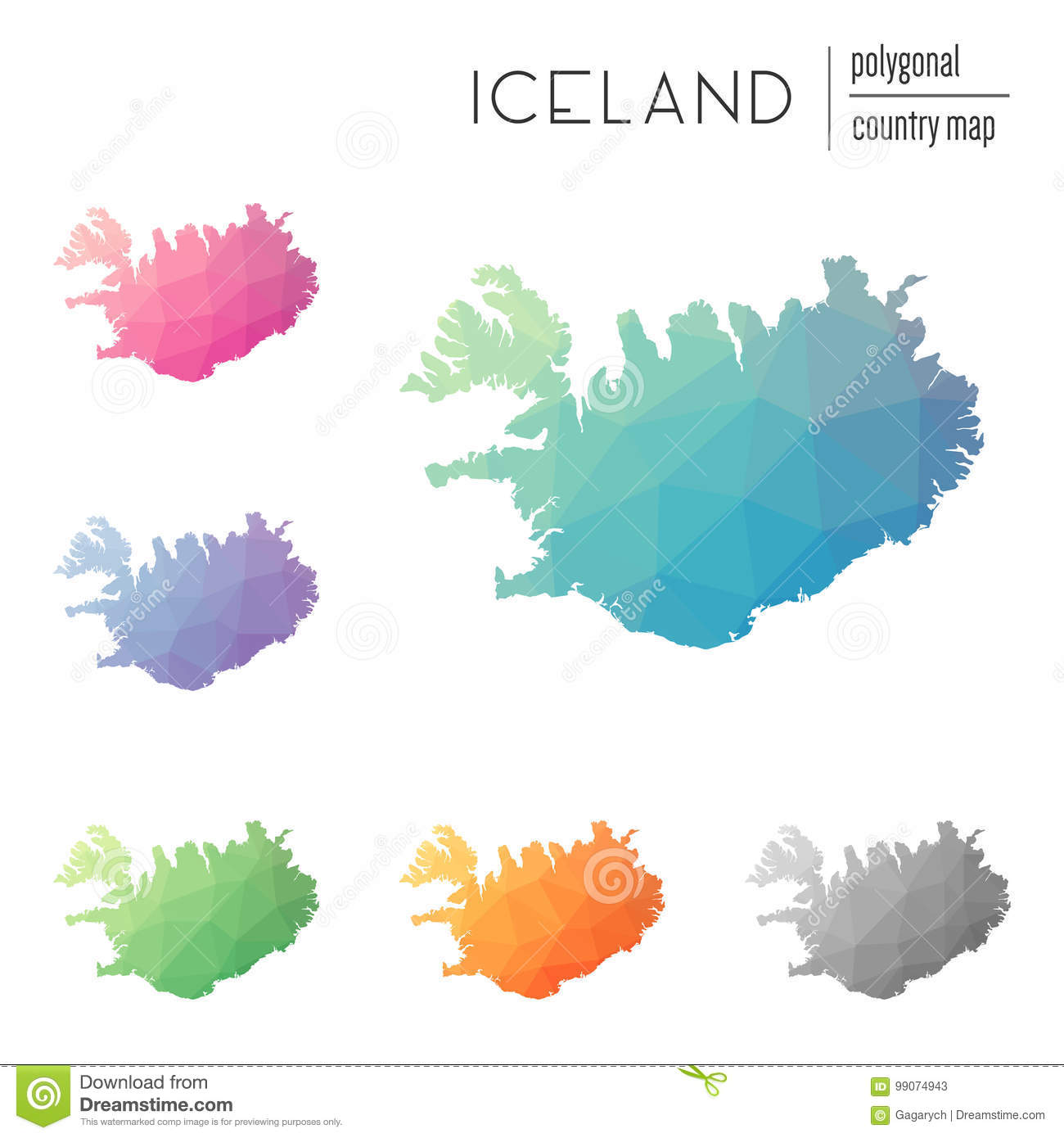 Set Of Vector Polygonal Iceland Maps. Stock Vector - Illustration of ...