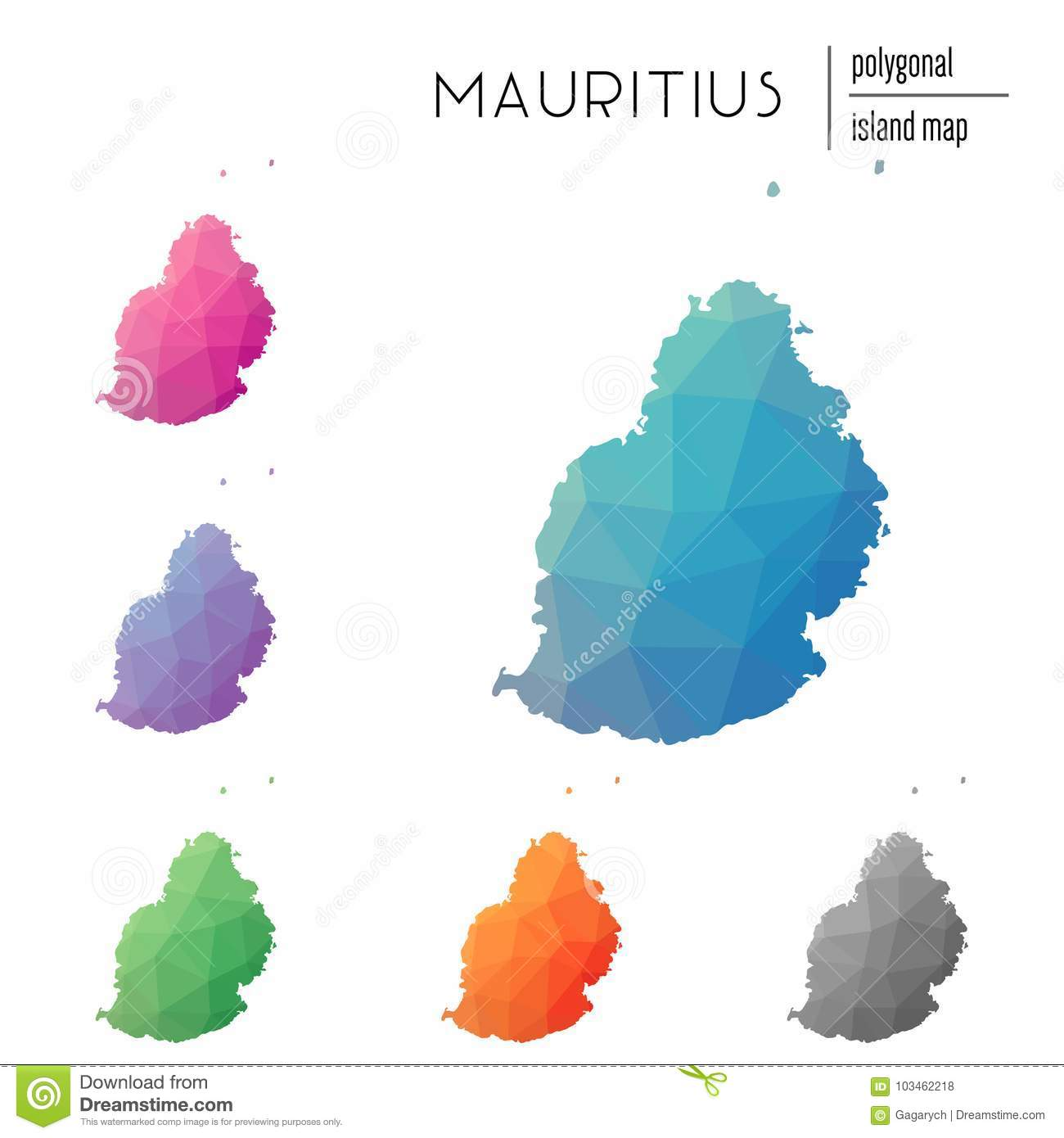Mauritius Island Africa Map.Set Of Vector Polygonal Mauritius Maps Filled Stock Vector
