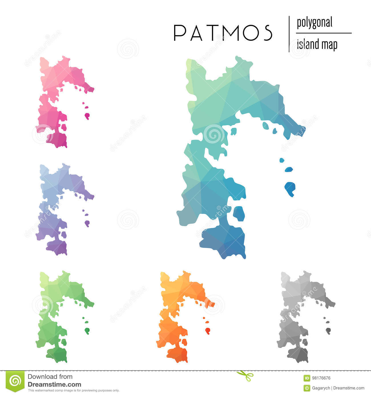 Set Of Vector Polygonal Patmos Maps Filled Stock Vector