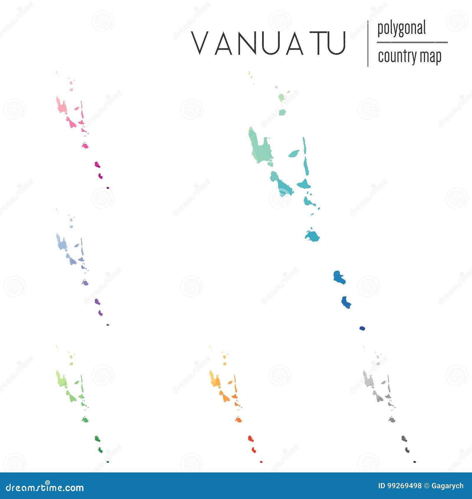 Set Of Vector Polygonal Vanuatu Maps. Stock Vector ...