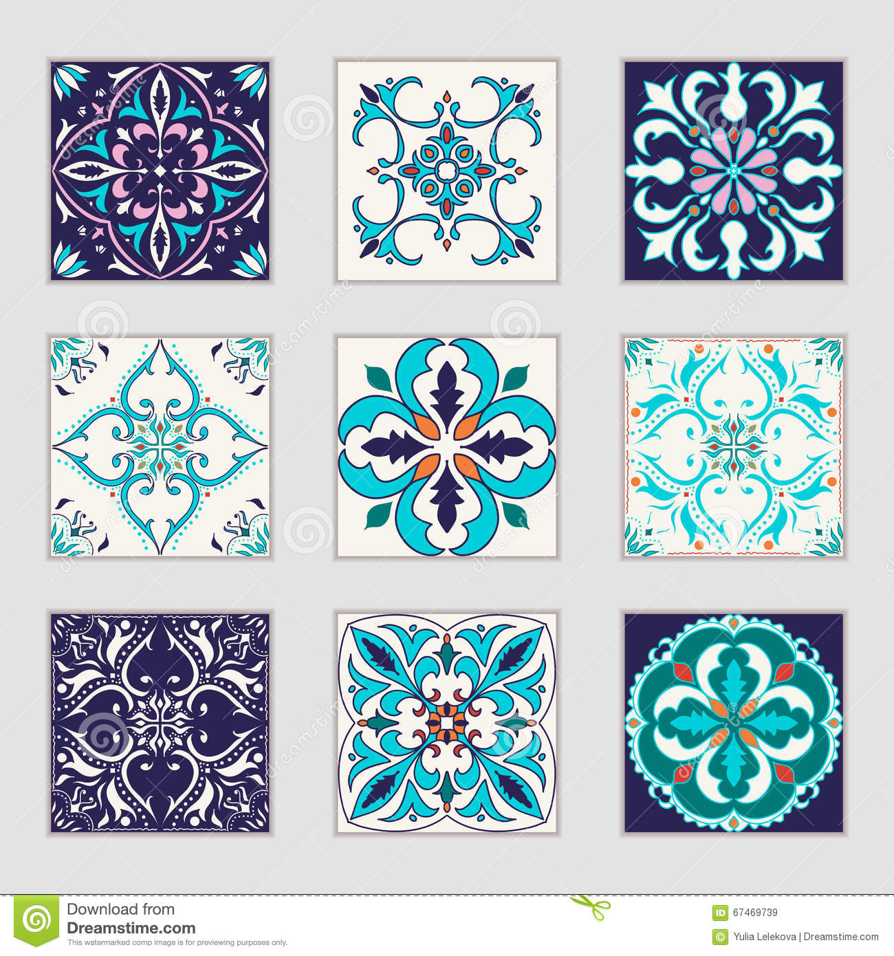Vector portuguese tile design in four different color Different design and colors of tiles