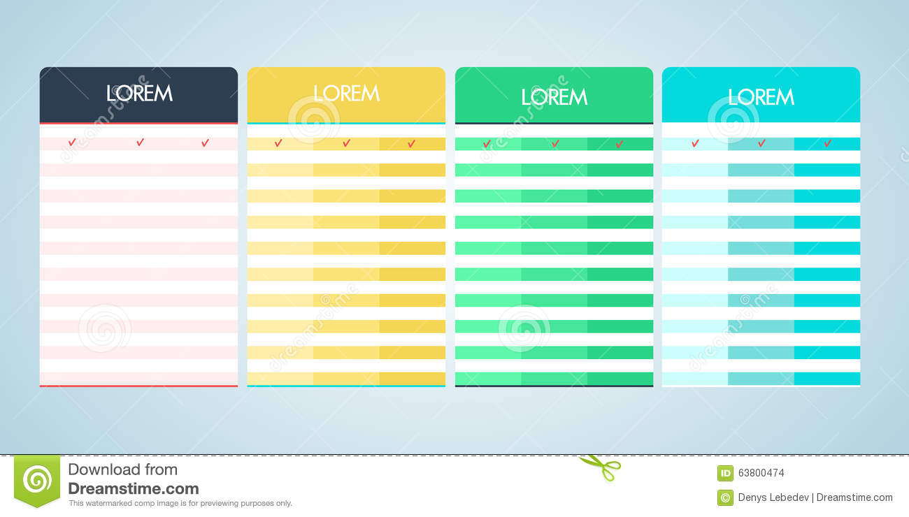 Set of vector pricing table in flat design stock vector for Table flat design
