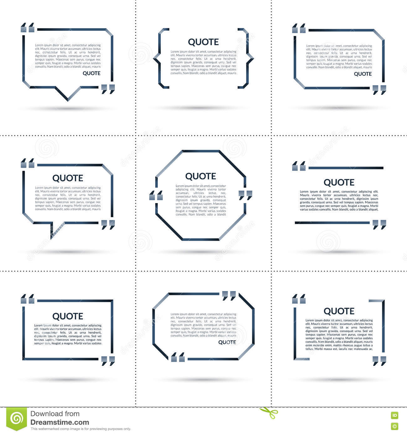 set of vector quote templates isolated on white background stock
