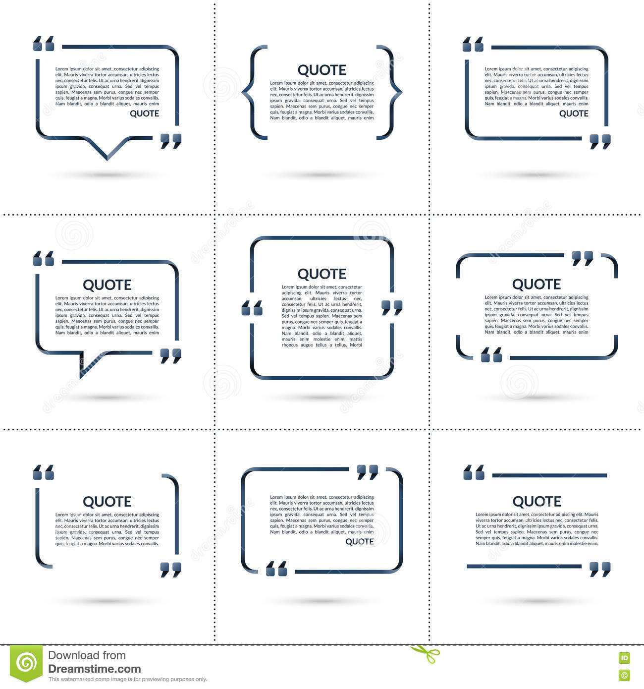 set of vector quote templates on white background stock vector set of vector quote templates on white background