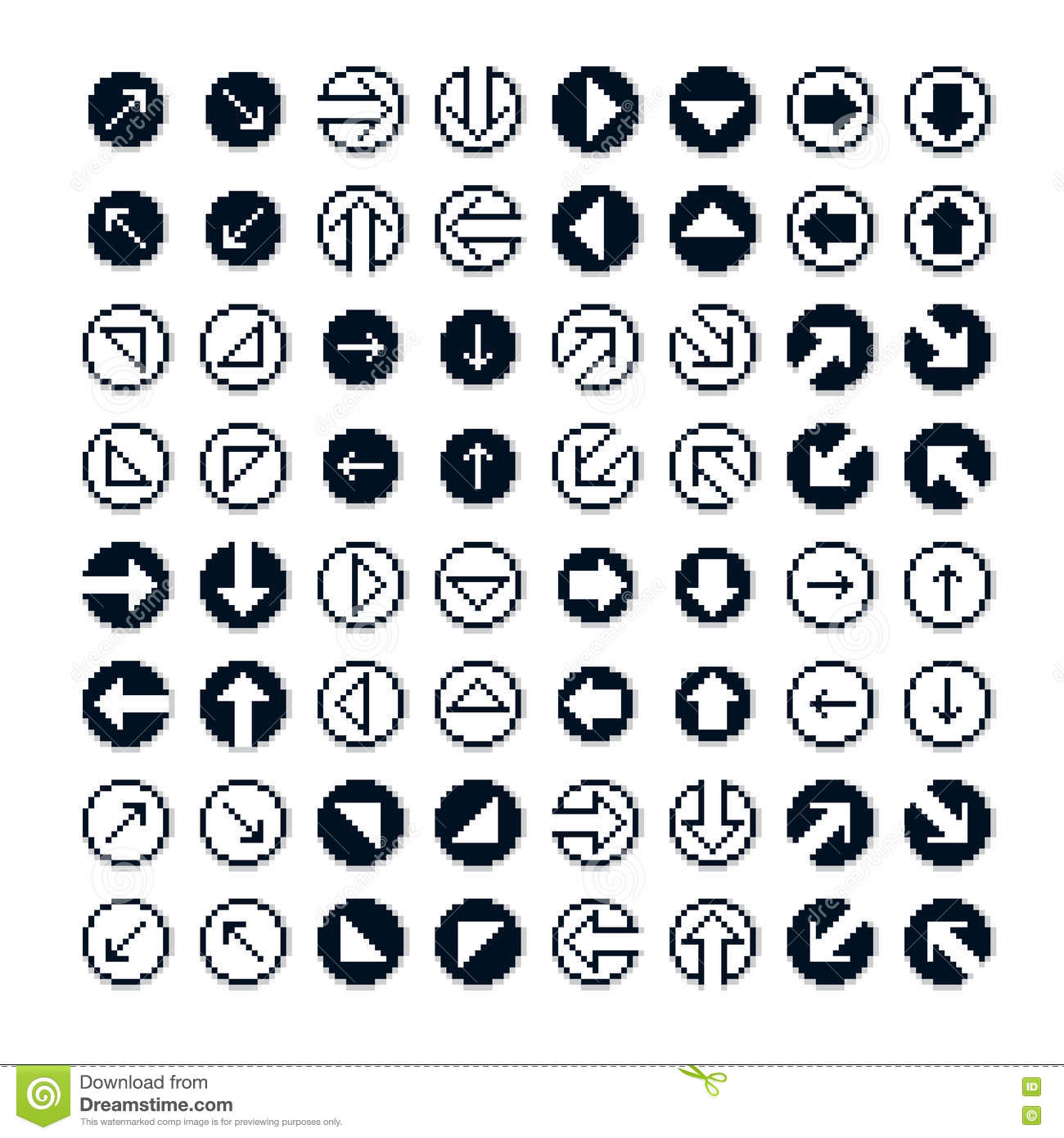 set of vector retro cursor signs made in pixel art style simpli