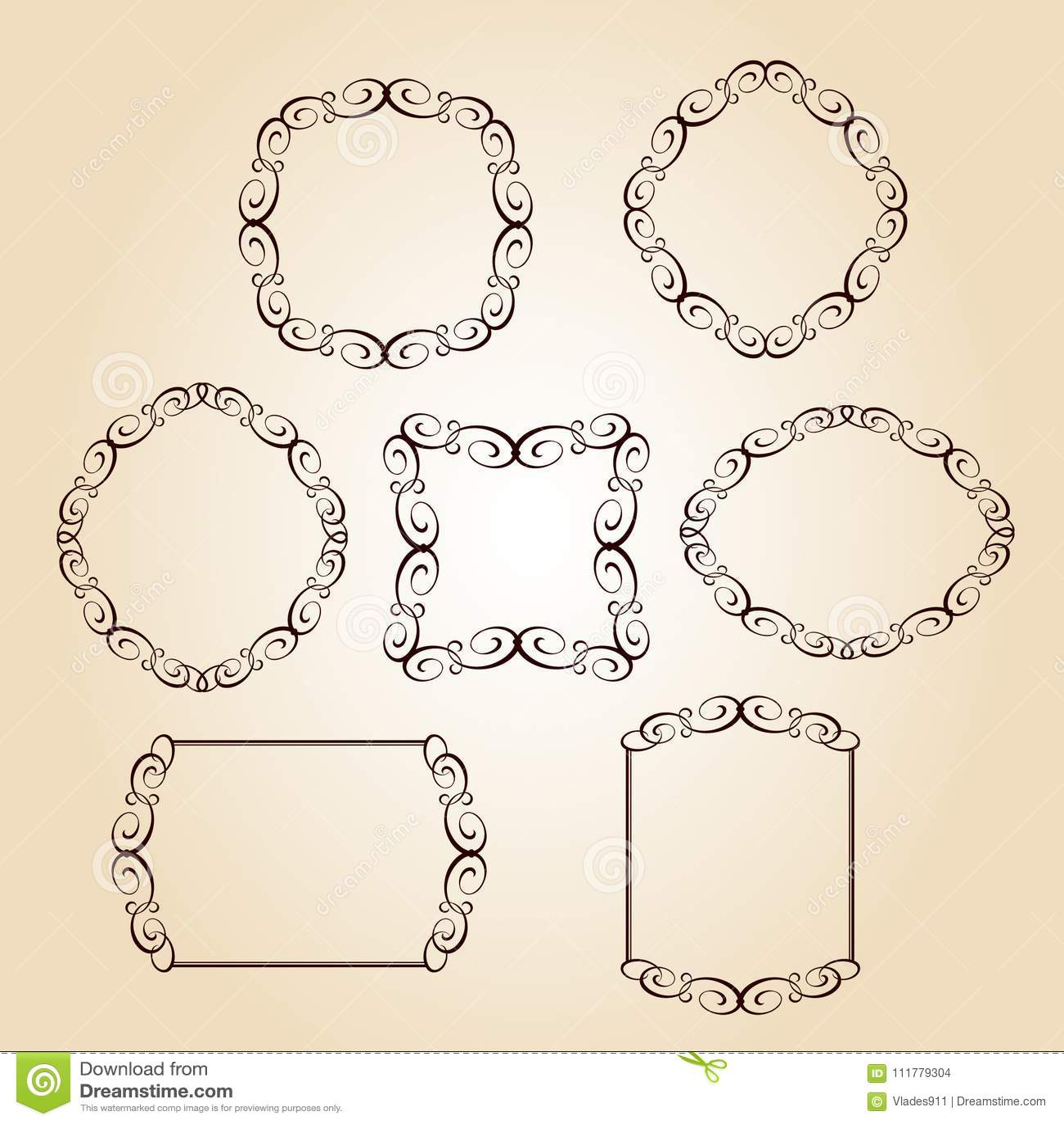 Set vector retro frames .Vector illustration.Brown