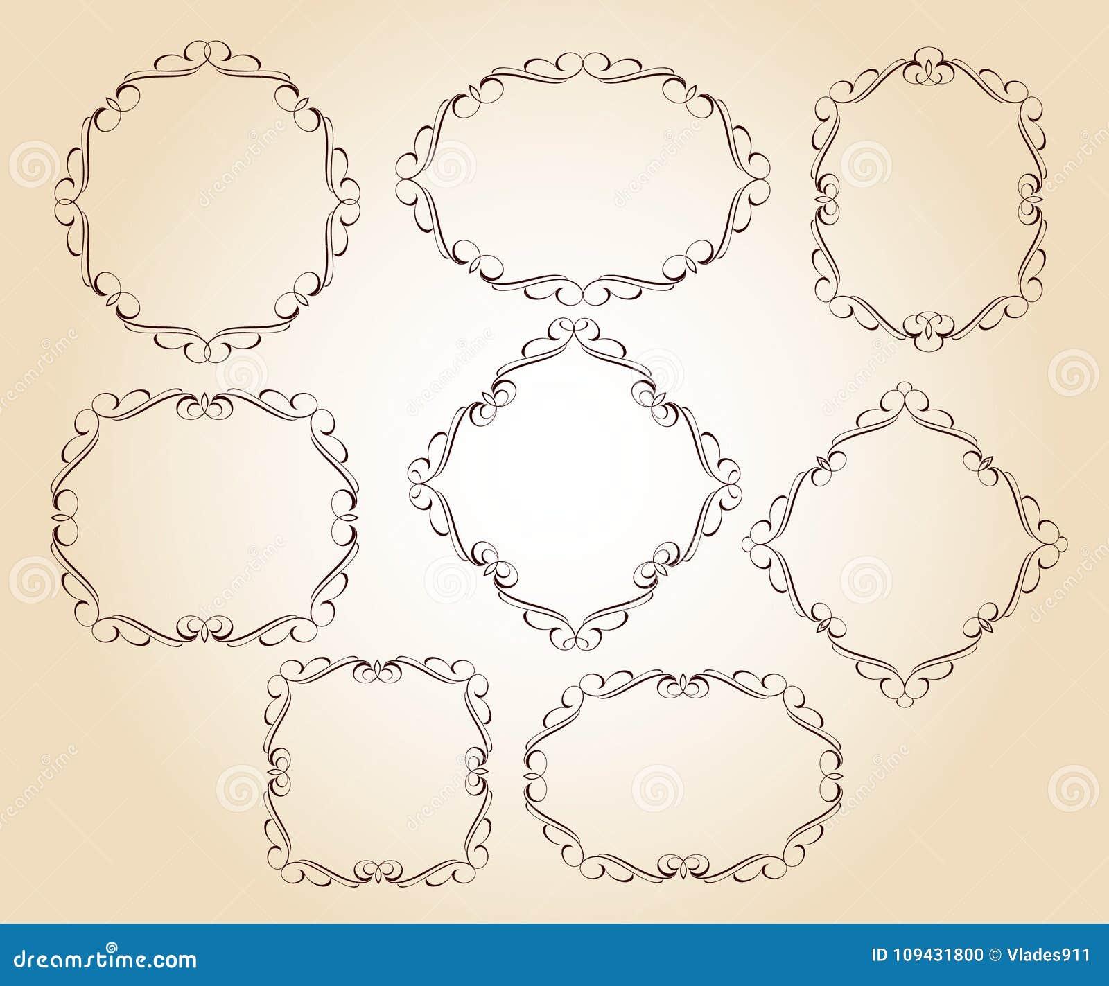 Set vector retro frames .Vector illustration.Brown beige.