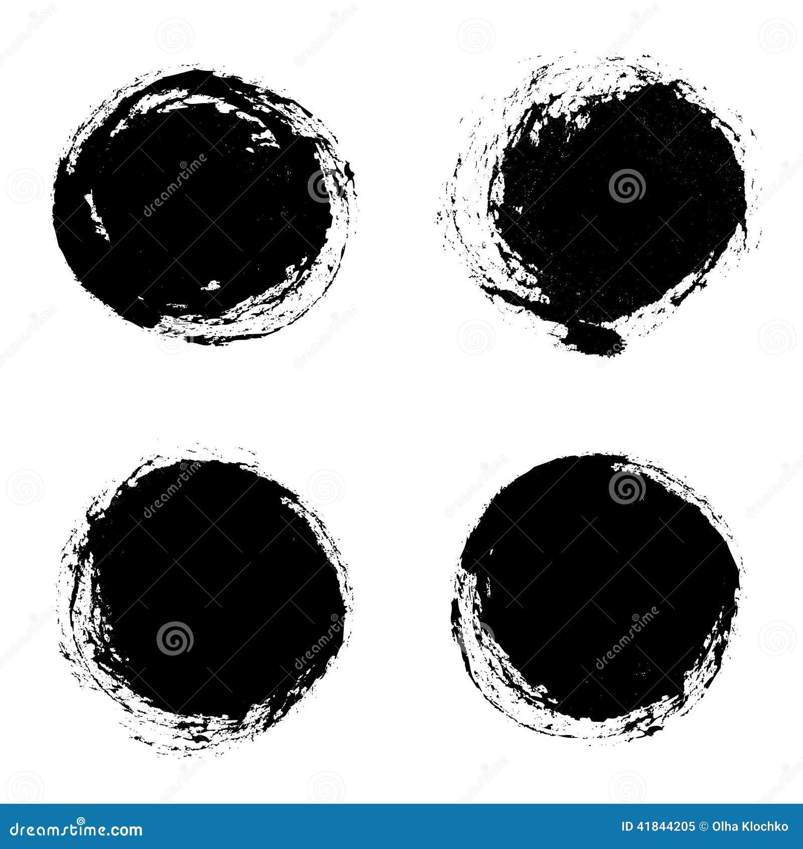 set of vector round grunge frames hand drawn design elements stock