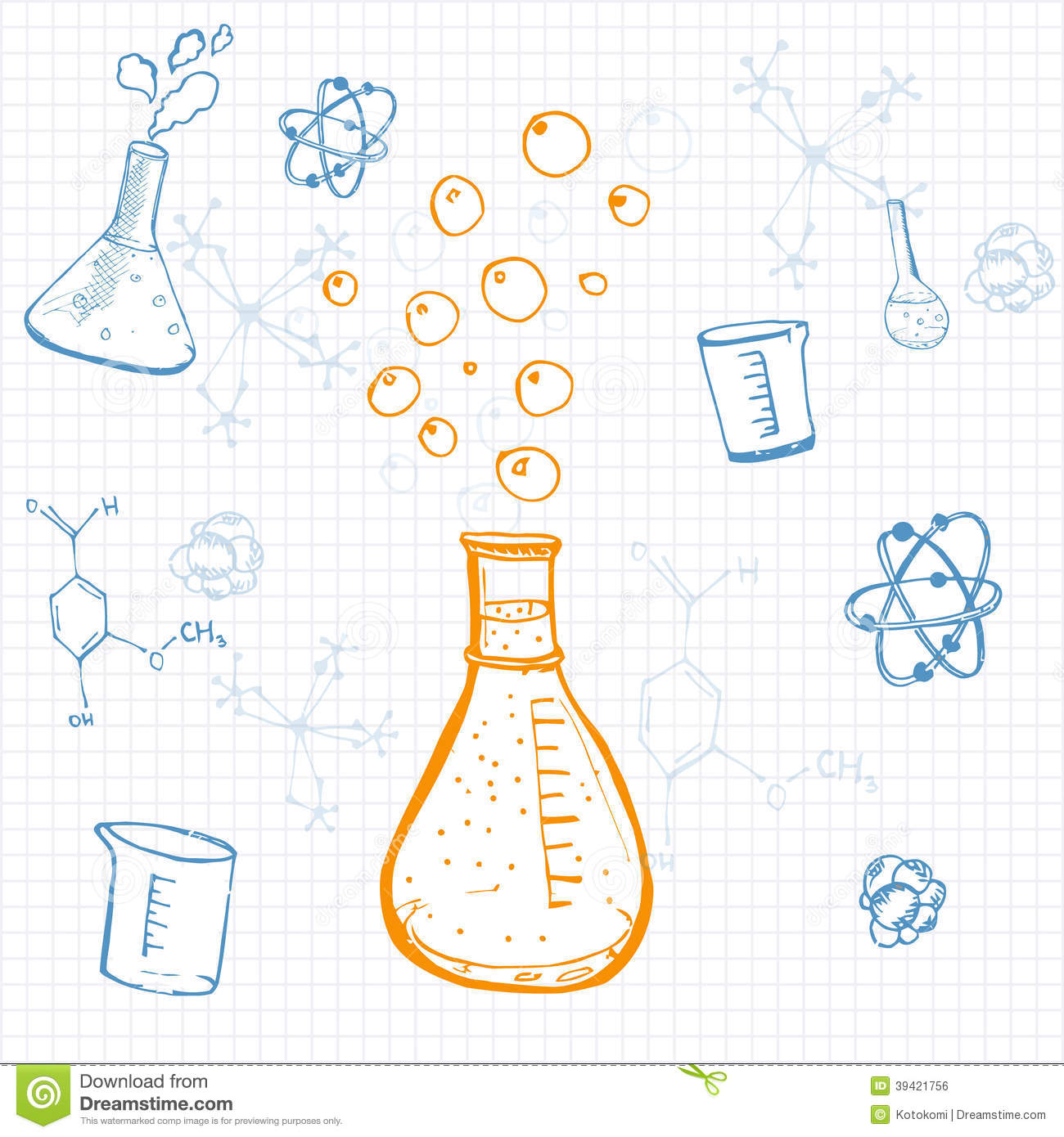 science equipment paper sketch drawn vector squared note ske preview