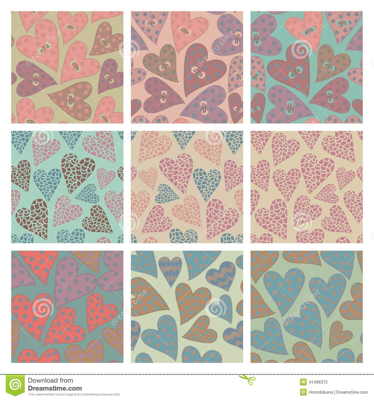 Set of vector seamless pattern with hearts