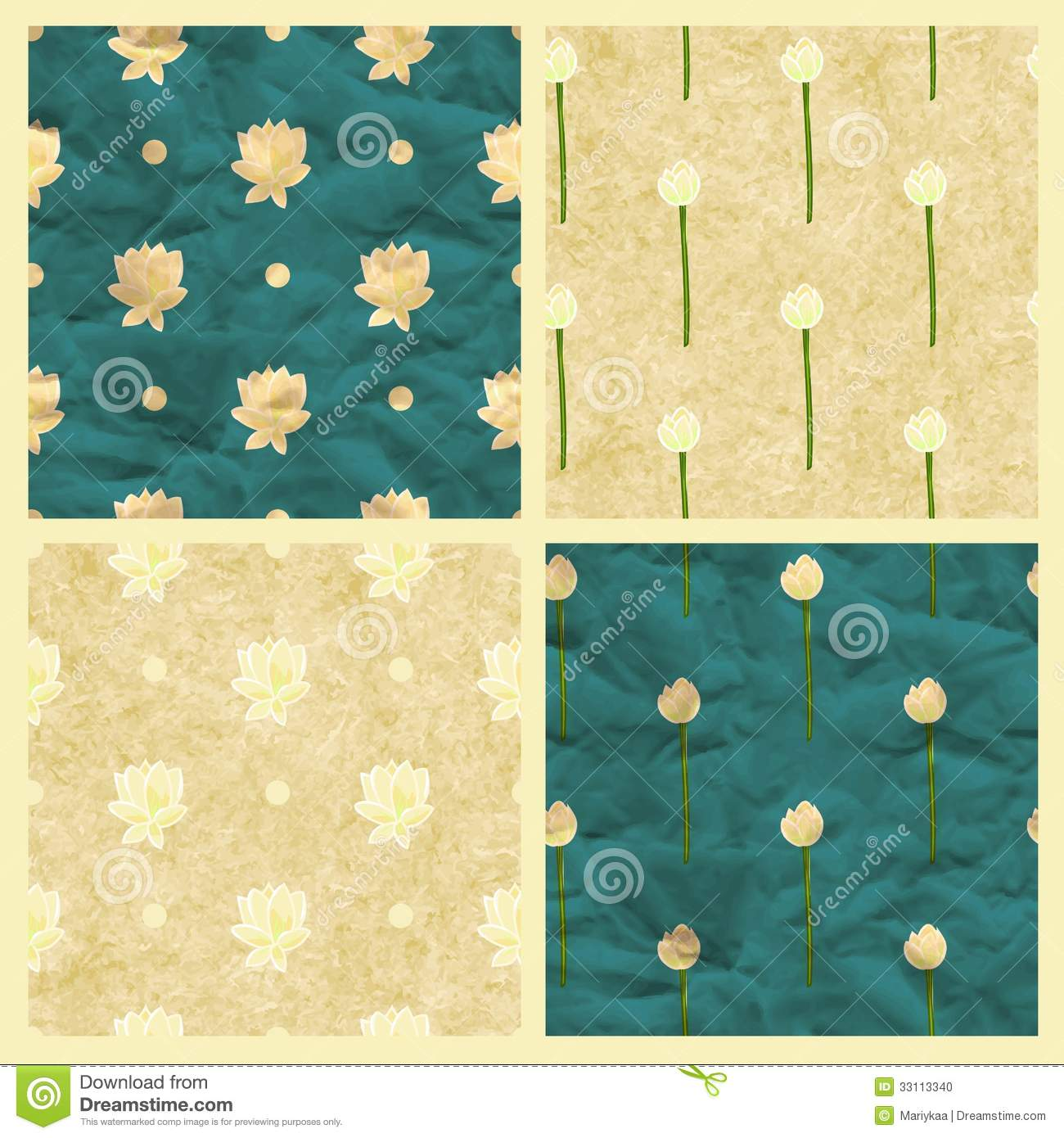 Set of vector seamless pattern with lotus stock vector set of seamless pattern with lotus flower eps10 izmirmasajfo
