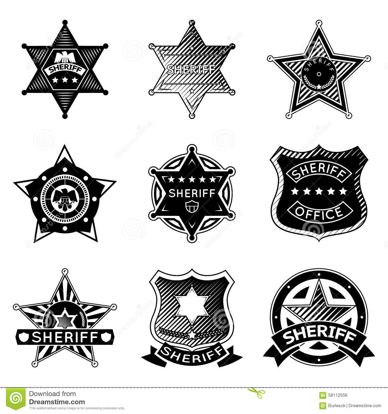Set Of Vector Sheriff Or Marshal Badges And Stars Stock