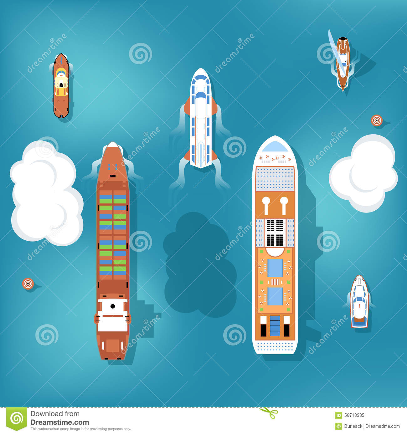 Set of vector ships top view stock vector image 56718385 for Top view design