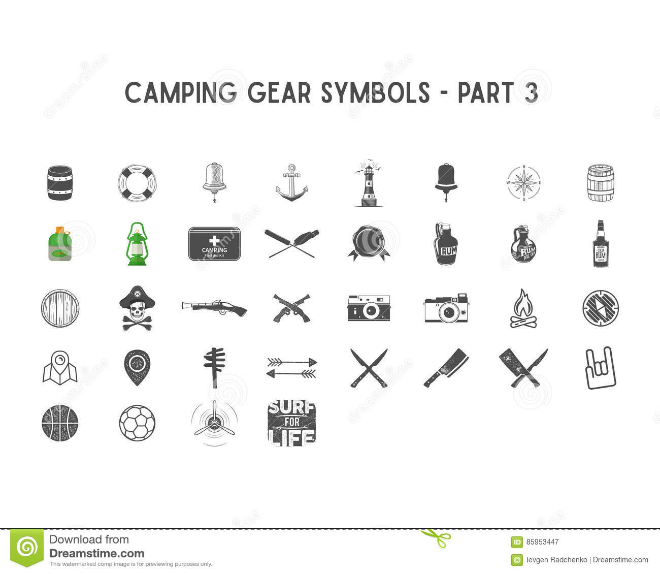 Set of vector silhouette icons and shapes with different outdoor set of vector silhouette icons and shapes with different outdoor gear camping symbols for creating adventure logo buycottarizona